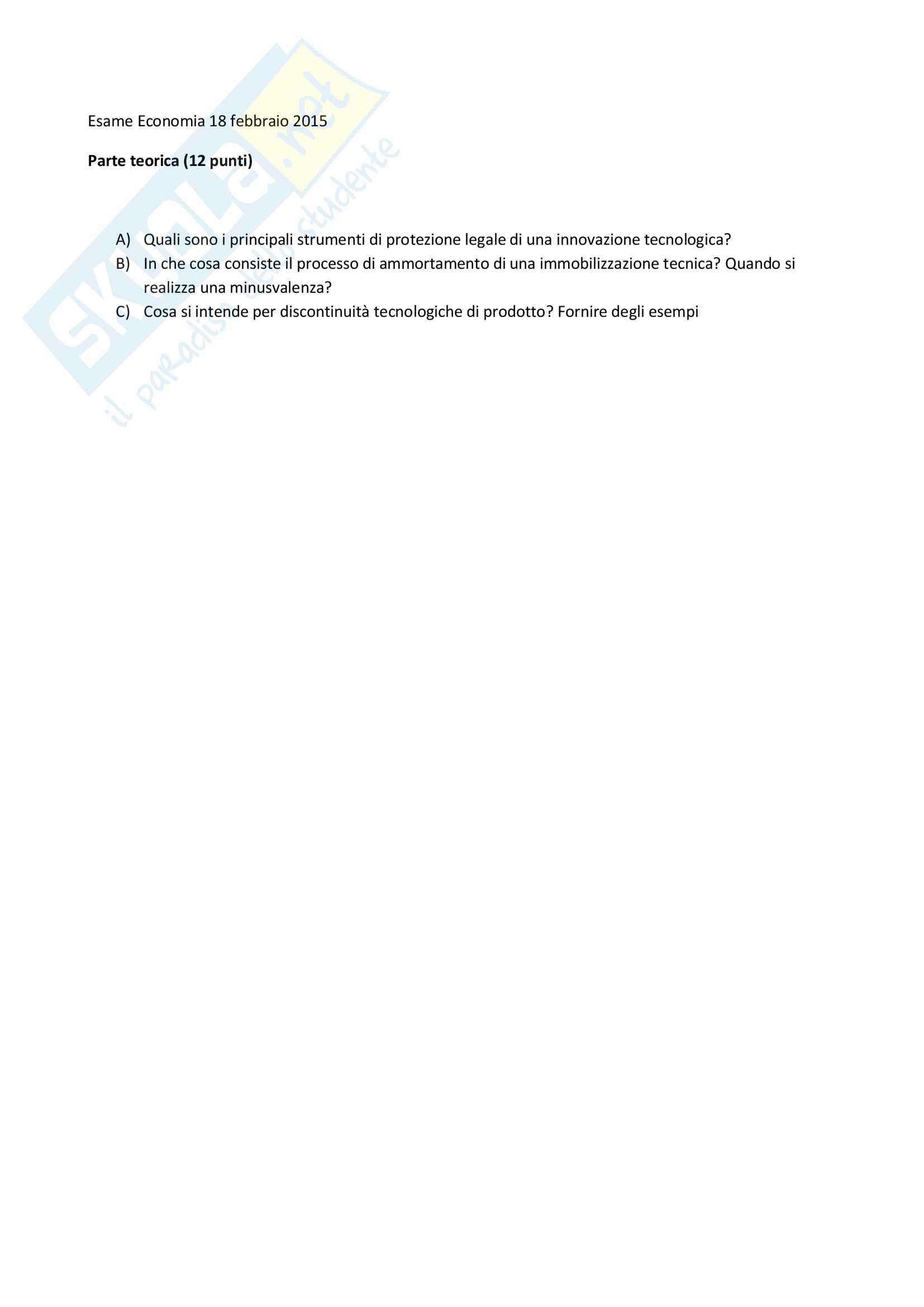 Fondamenti di Economia aziendale e dell'innovazione T - Simulazione esami Pag. 11