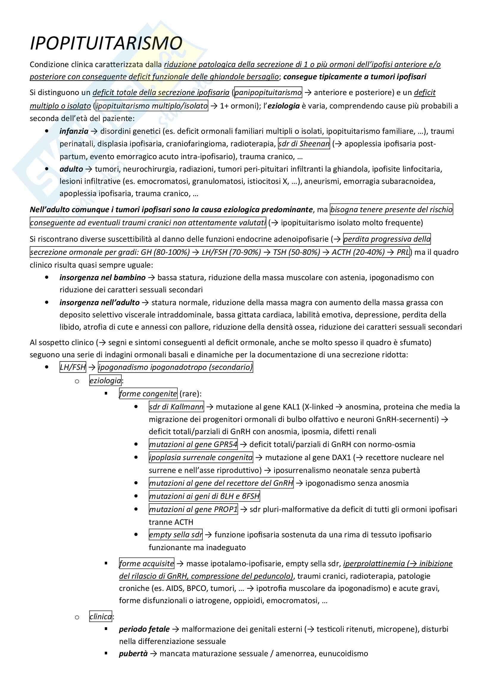 Endocrinologia - ipopituitarismo Pag. 1