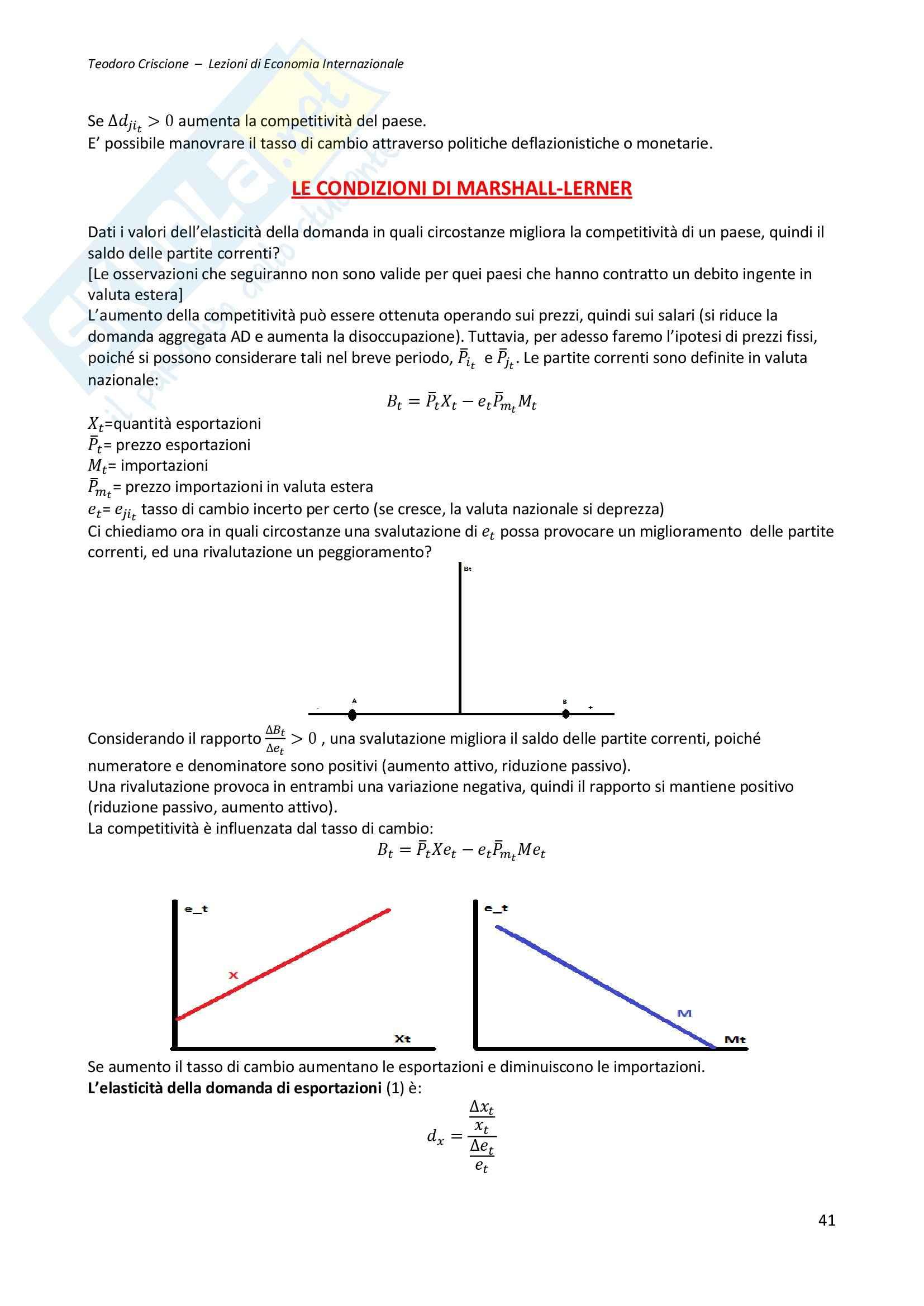 Riassunto esame Economia Internazionale, prof. Cifarelli, libro consigliato Economia internazionale, Salvatore Dominick (1 di 2) Pag. 41