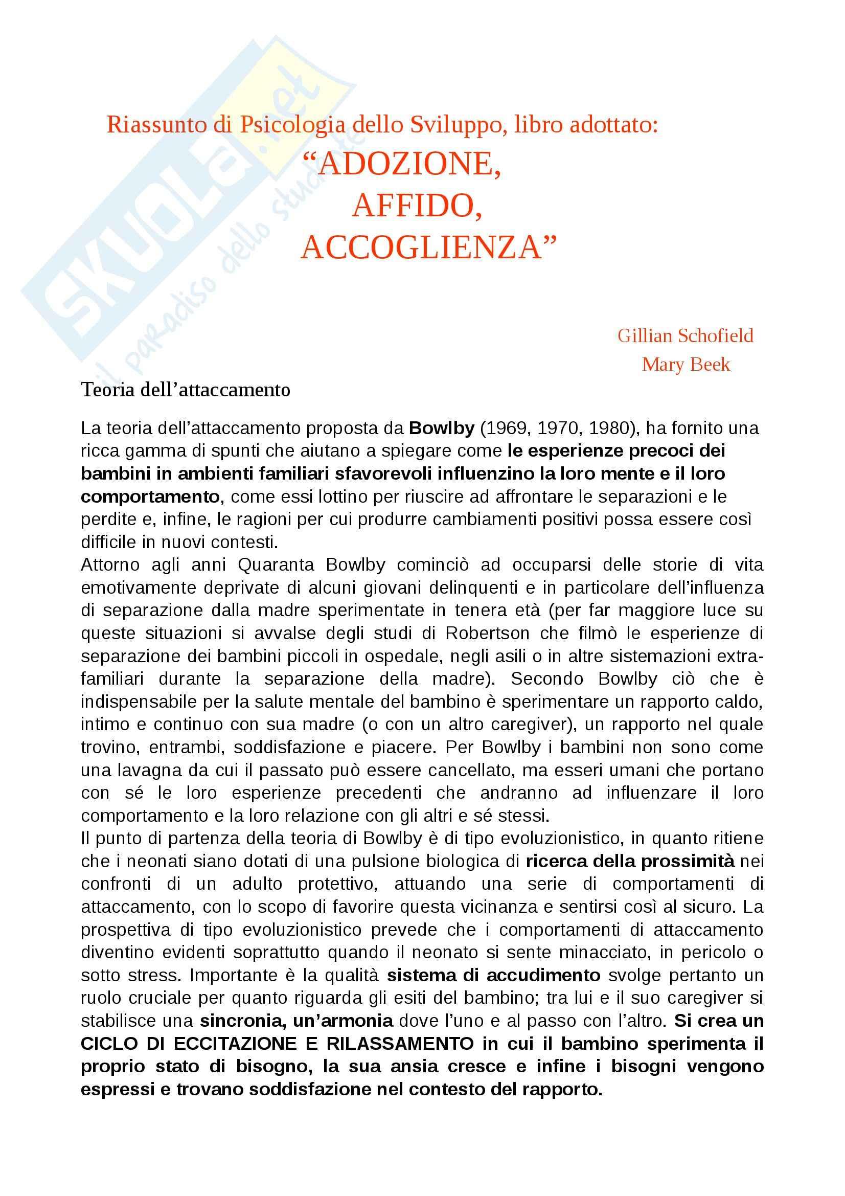 Riassunto esame Psicologia dello Sviluppo, prof. Toselli, libro consigliato ADOZIONE, AFFIDO, ACCOGLIENZA Schofield, Beek