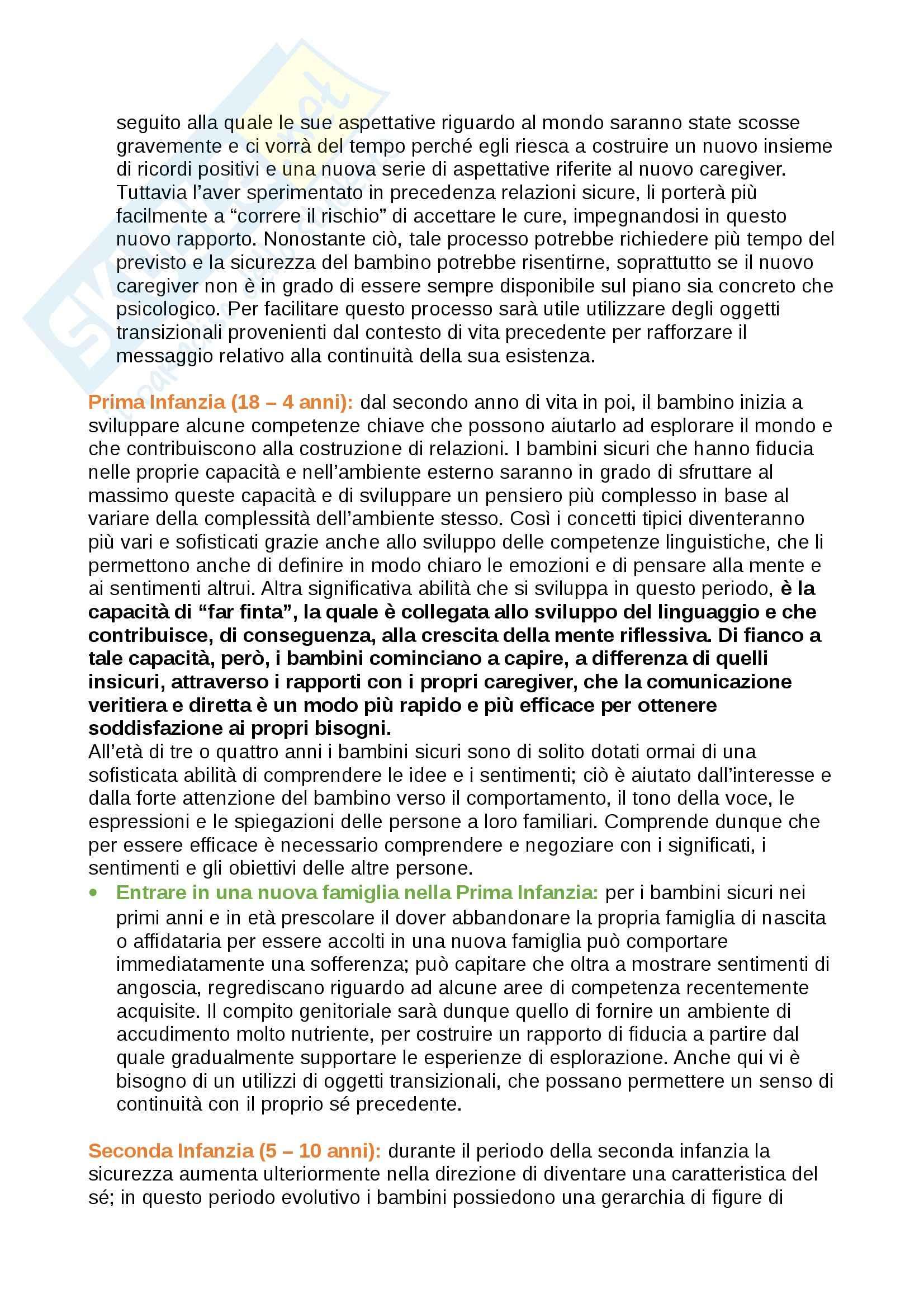 Riassunto esame Psicologia dello Sviluppo, prof. Toselli, libro consigliato ADOZIONE, AFFIDO, ACCOGLIENZA Schofield, Beek Pag. 21