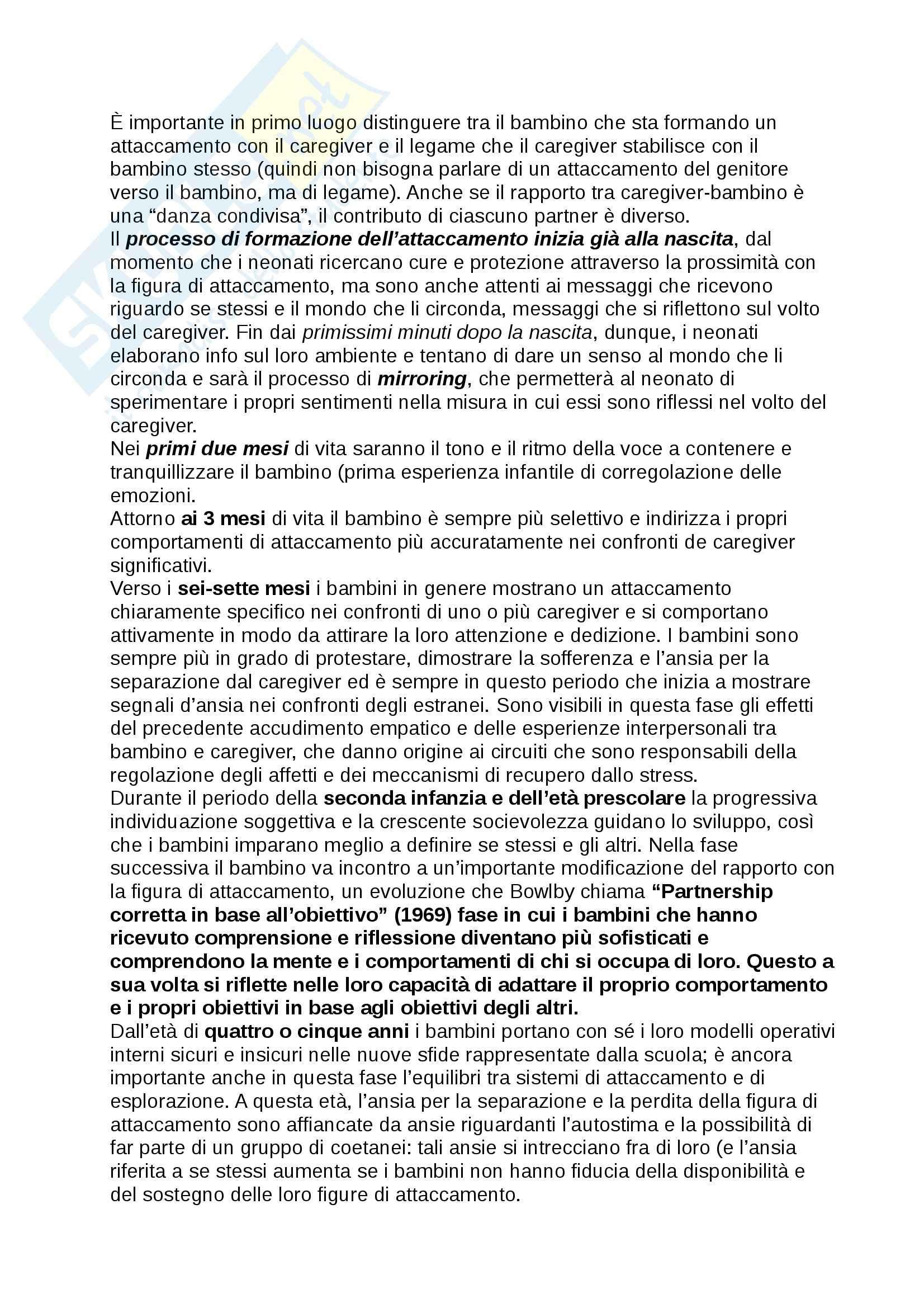 Riassunto esame Psicologia dello Sviluppo, prof. Toselli, libro consigliato ADOZIONE, AFFIDO, ACCOGLIENZA Schofield, Beek Pag. 6