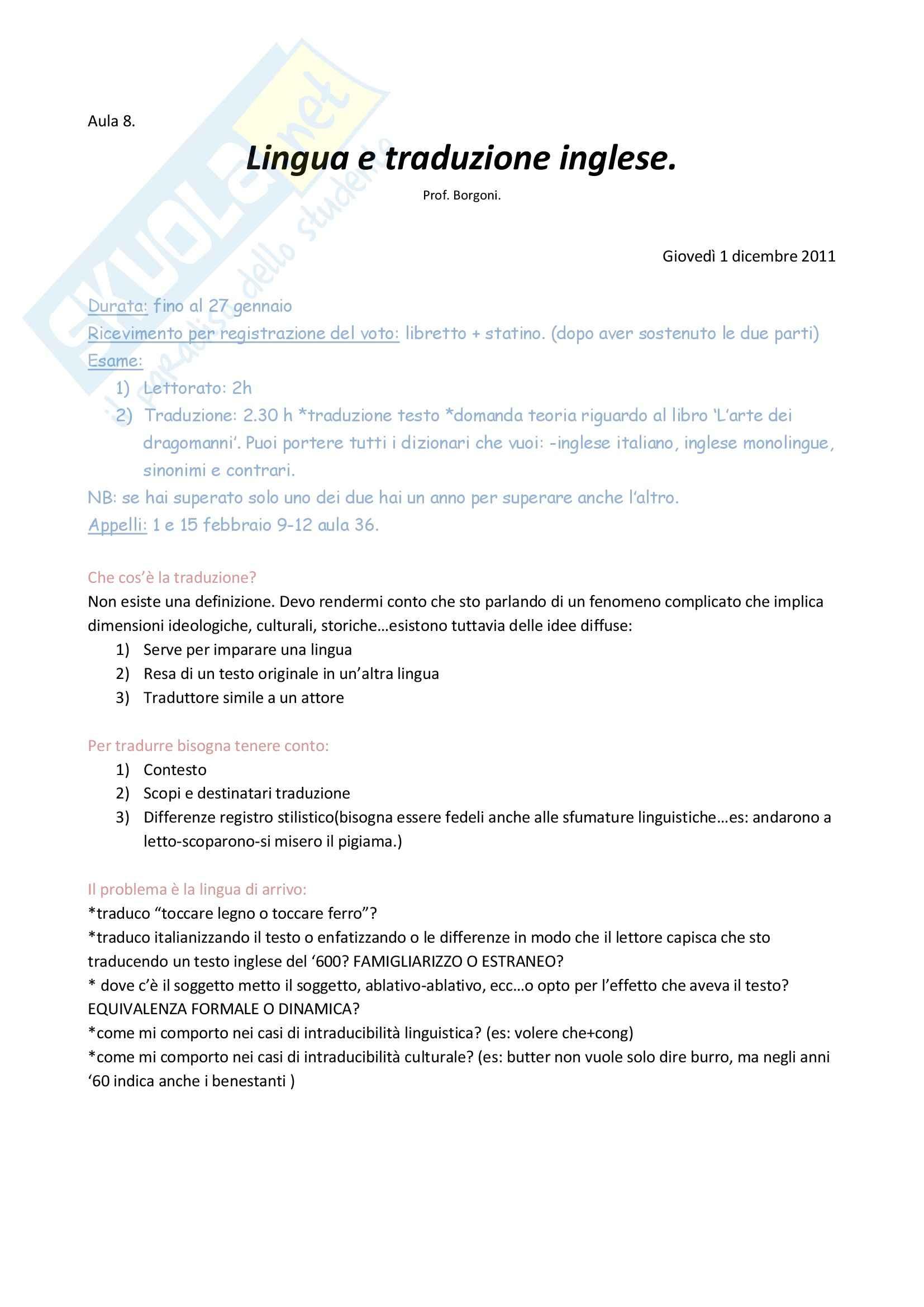 Lezioni, Lingua e traduzione inglese