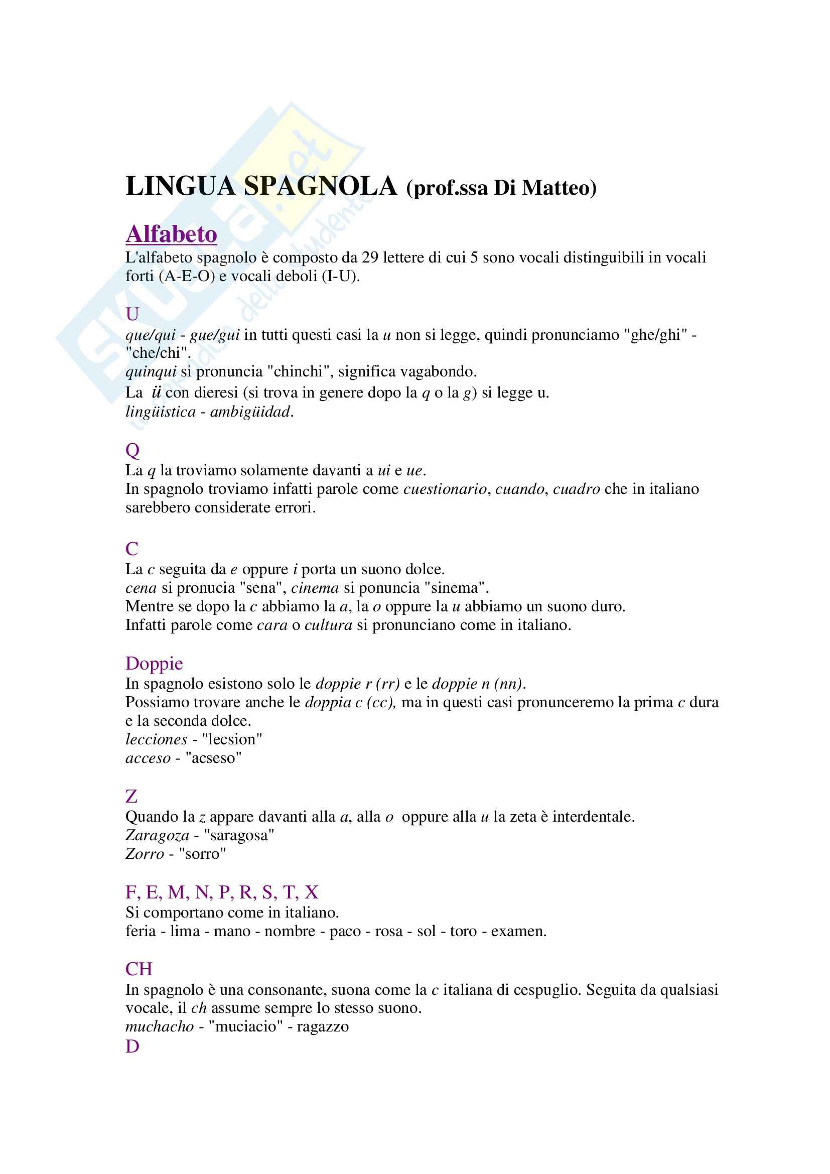 Lingua spagnola - l'alfabeto spagnolo