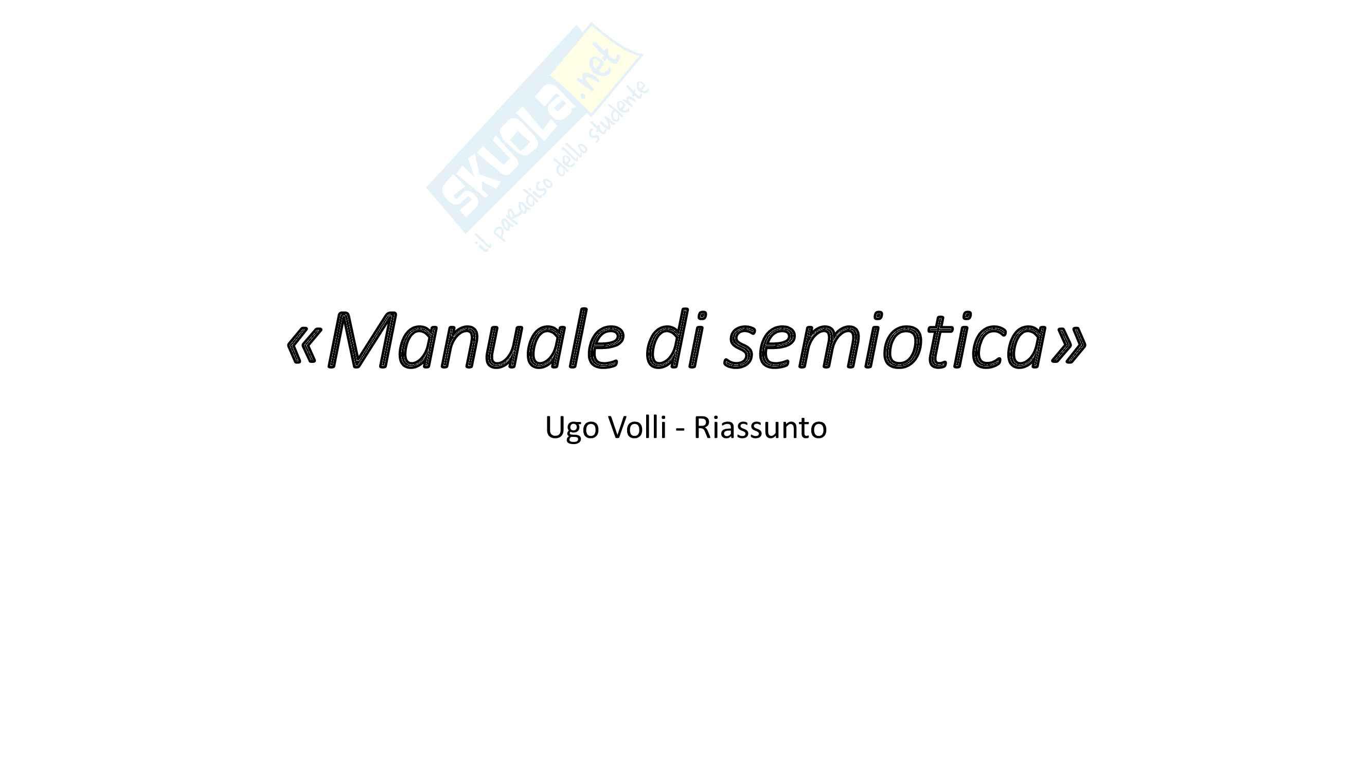 """Riassunto esame Semiotica, proff. Ferraro e Leone, libro consigliato """"Manuale di semiotica"""", Volli"""