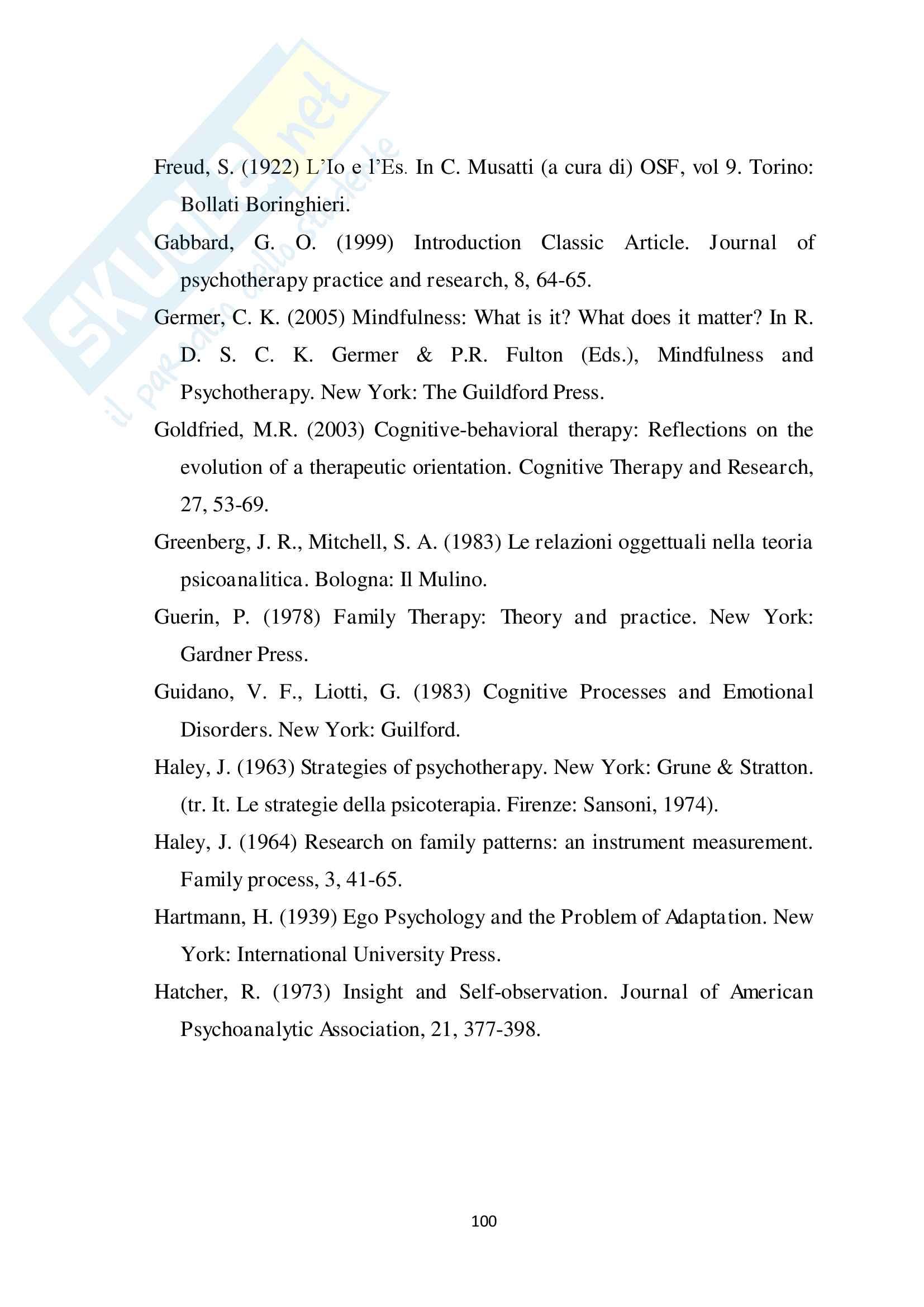 Il concetto di insight in diversi modelli di psicoterapia Pag. 101