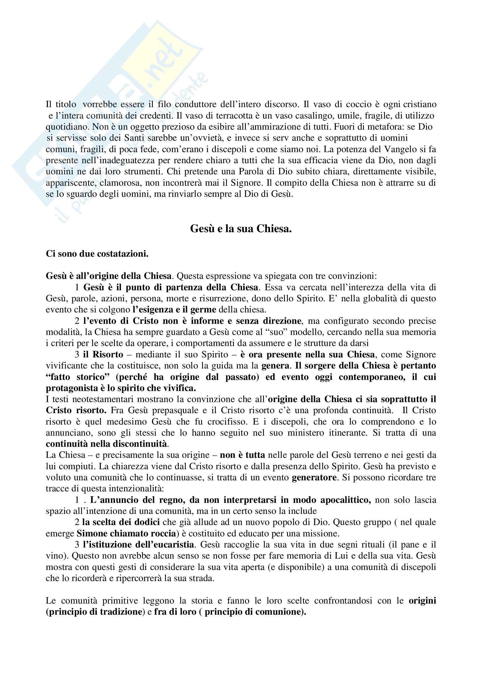 Riassunto esame Questioni di Teologia Speculativa e Dogmatica, prof. Maggioni, libro consigliato Un Tesoro in Vasi di Coccio, Maggioni