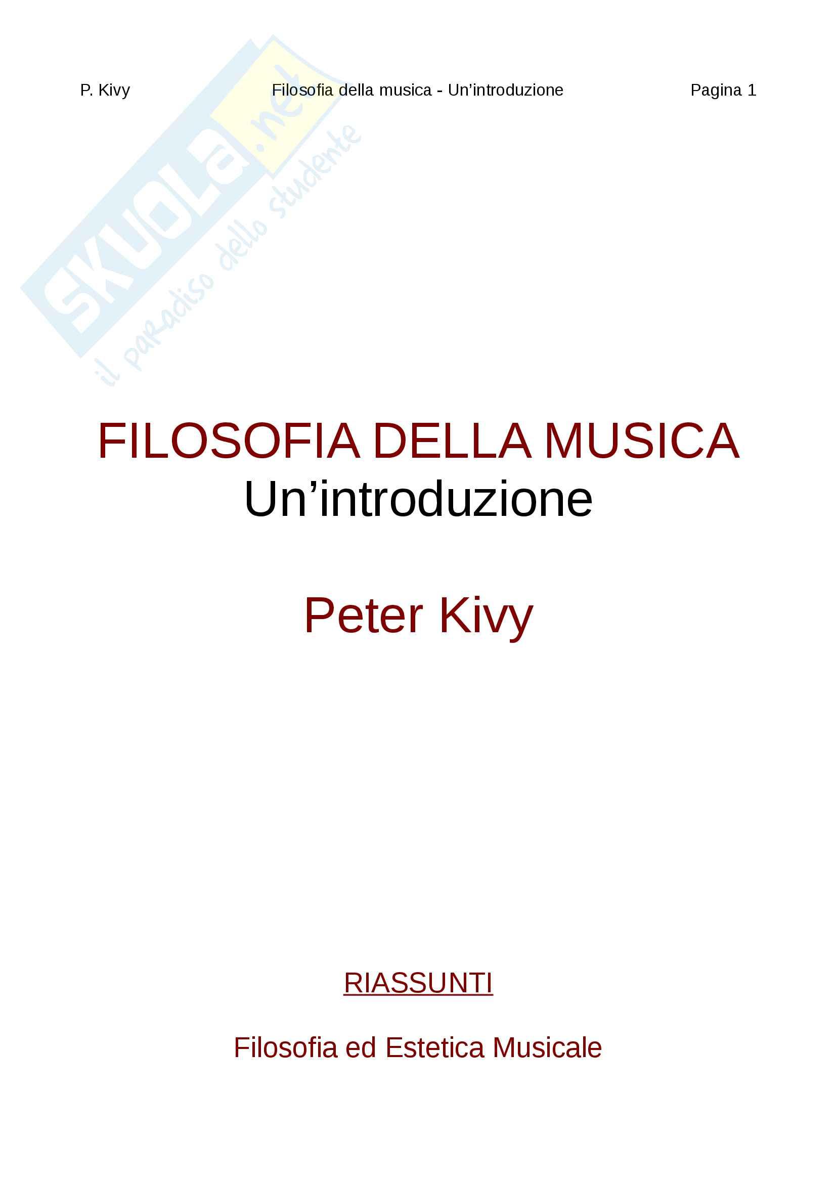 Riassunti per filosofia ed estetica musicale, Prof.Giani, libro consigliato Filosofia della musica,  Kivy