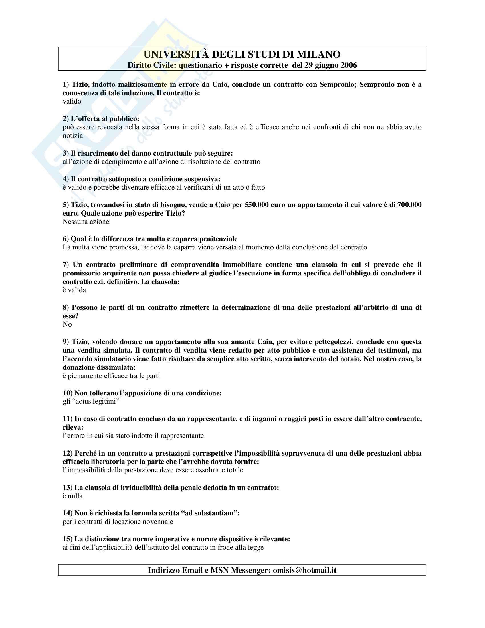 Diritto civile - Test