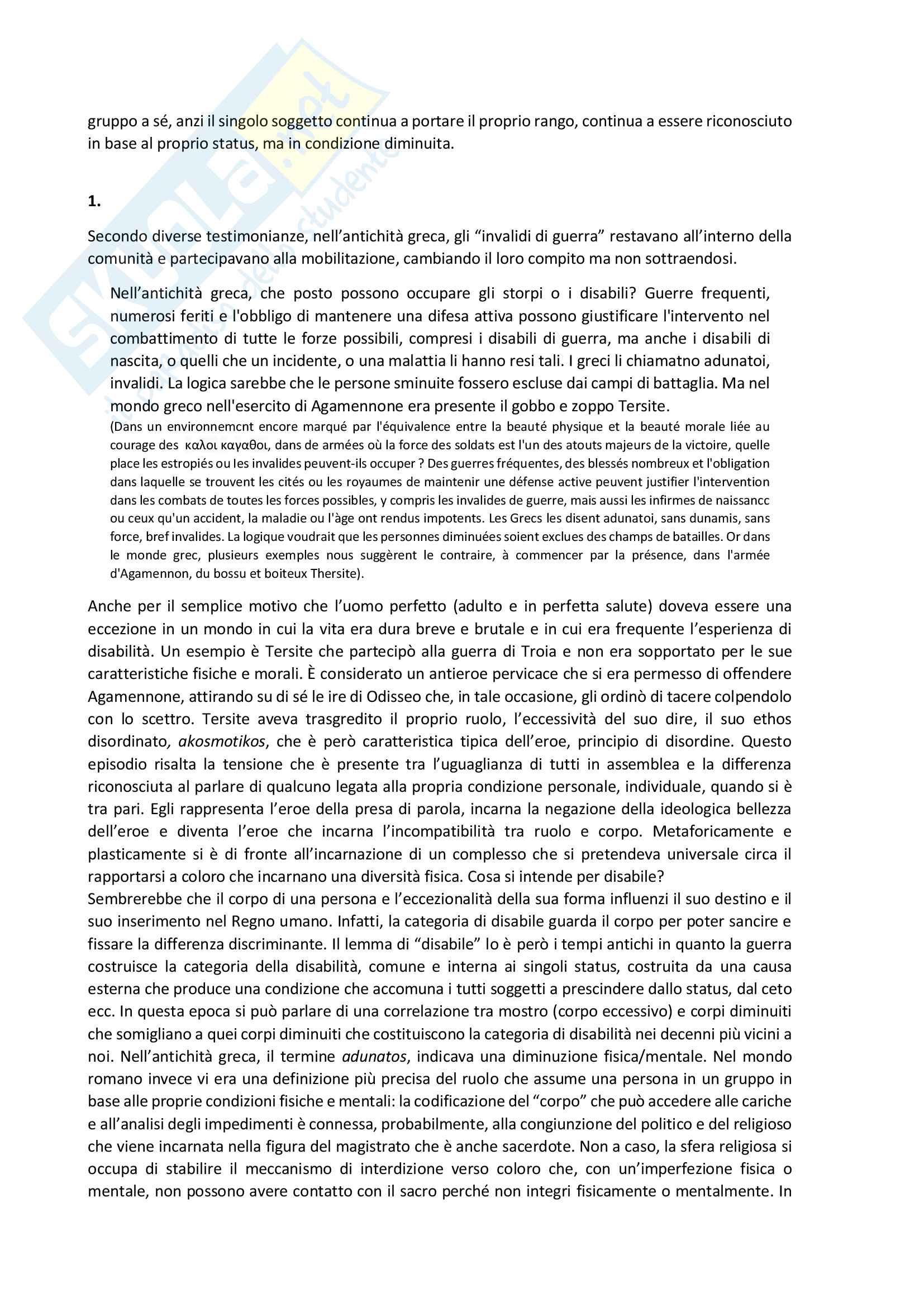Riassunto esame Modelli sociali della disabilità,  prof. Pizzo, testo consigliato: Minority Reports. Cultural Disability Studies, n. 2/2016. La guerra in carne ed ossa / The War in the Flesh Pag. 2