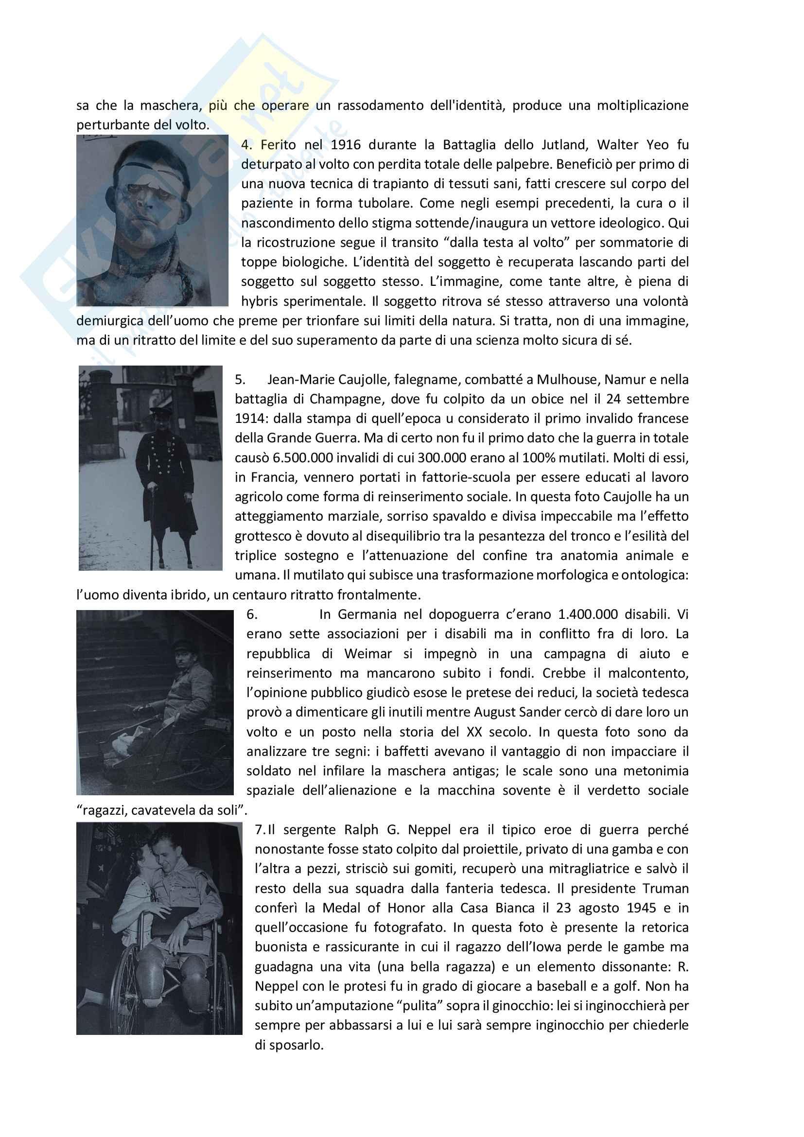 Riassunto esame Modelli sociali della disabilità,  prof. Pizzo, testo consigliato: Minority Reports. Cultural Disability Studies, n. 2/2016. La guerra in carne ed ossa / The War in the Flesh Pag. 26