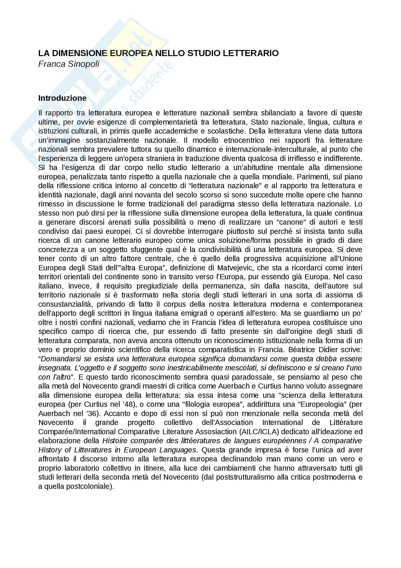 Riassunto esame Letterature comparate, prof. Sinopoli. Libro consigliato La dimensione europea nello studio letterario, F. Sinopoli