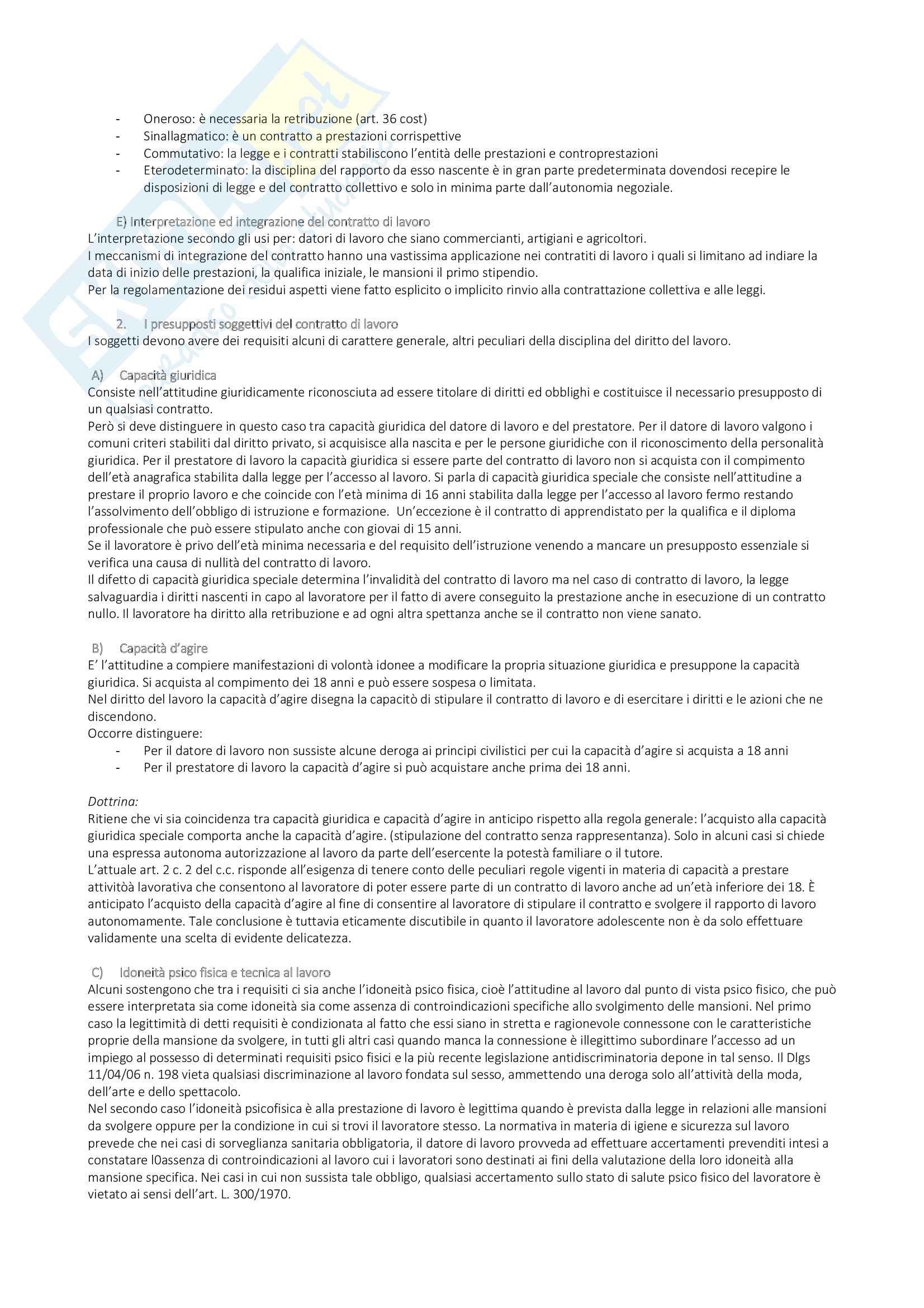 Appunti di Diritto del Lavoro Pag. 2