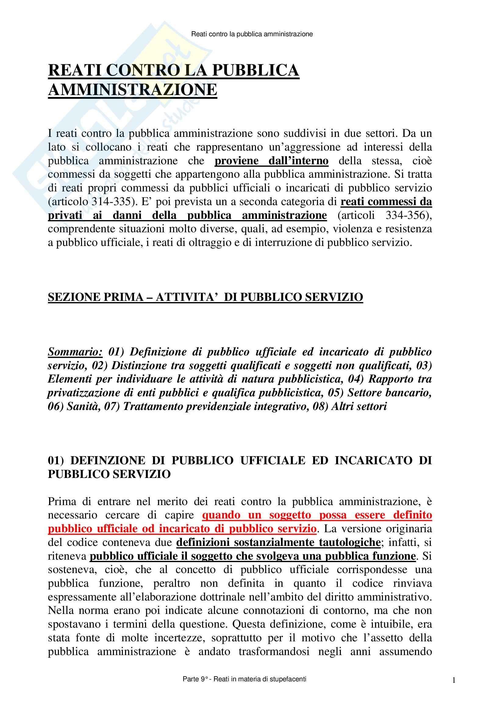 Diritto penale - reati contro la Pubblica Amministrazione- Appunti