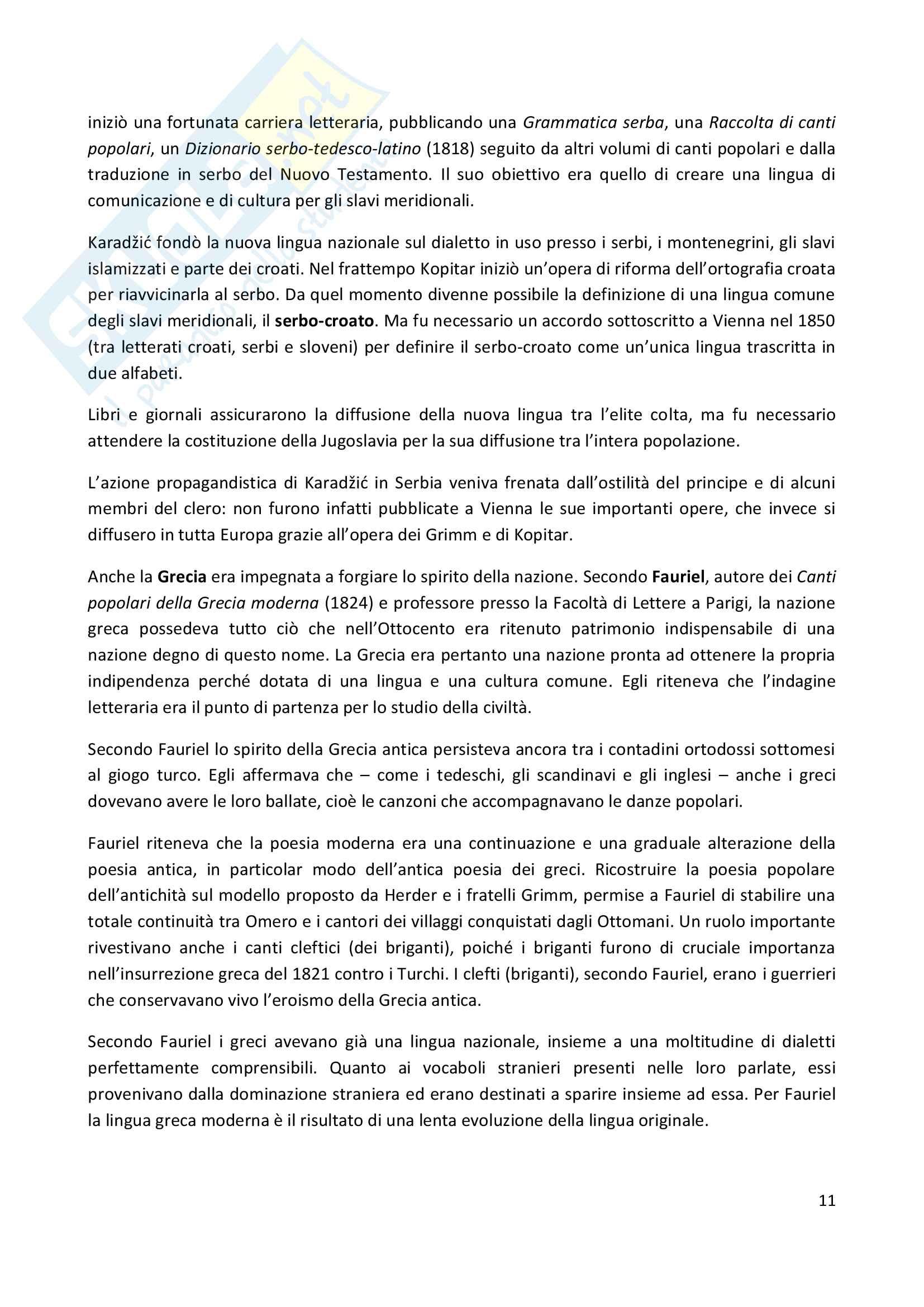 Riassunto esame Storia contemporanea, prof Trinchese, libro consigliato: La creazione delle identità nazionali in Europa, Thiesse Pag. 11