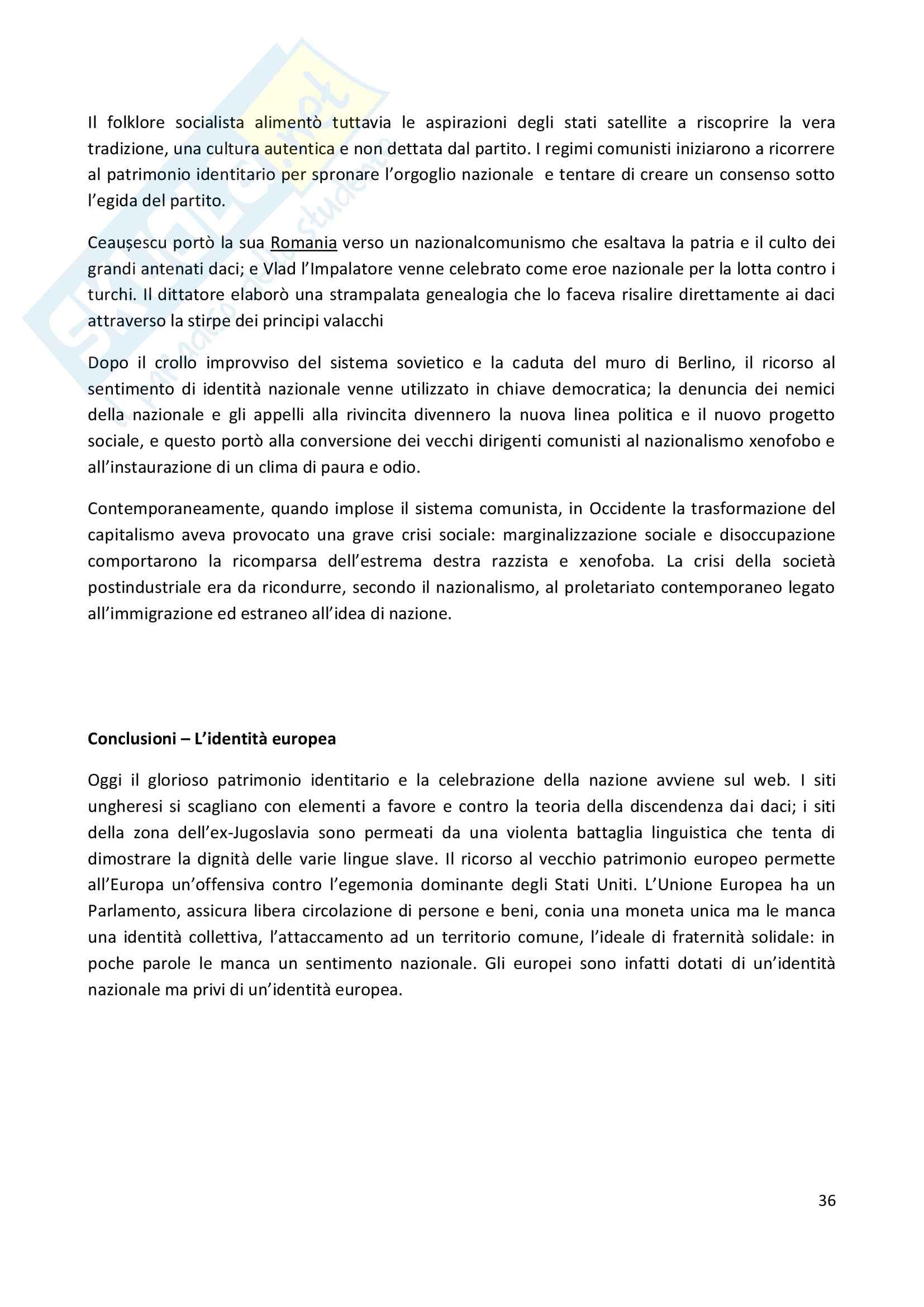 Riassunto esame Storia contemporanea, prof Trinchese, libro consigliato: La creazione delle identità nazionali in Europa, Thiesse Pag. 36
