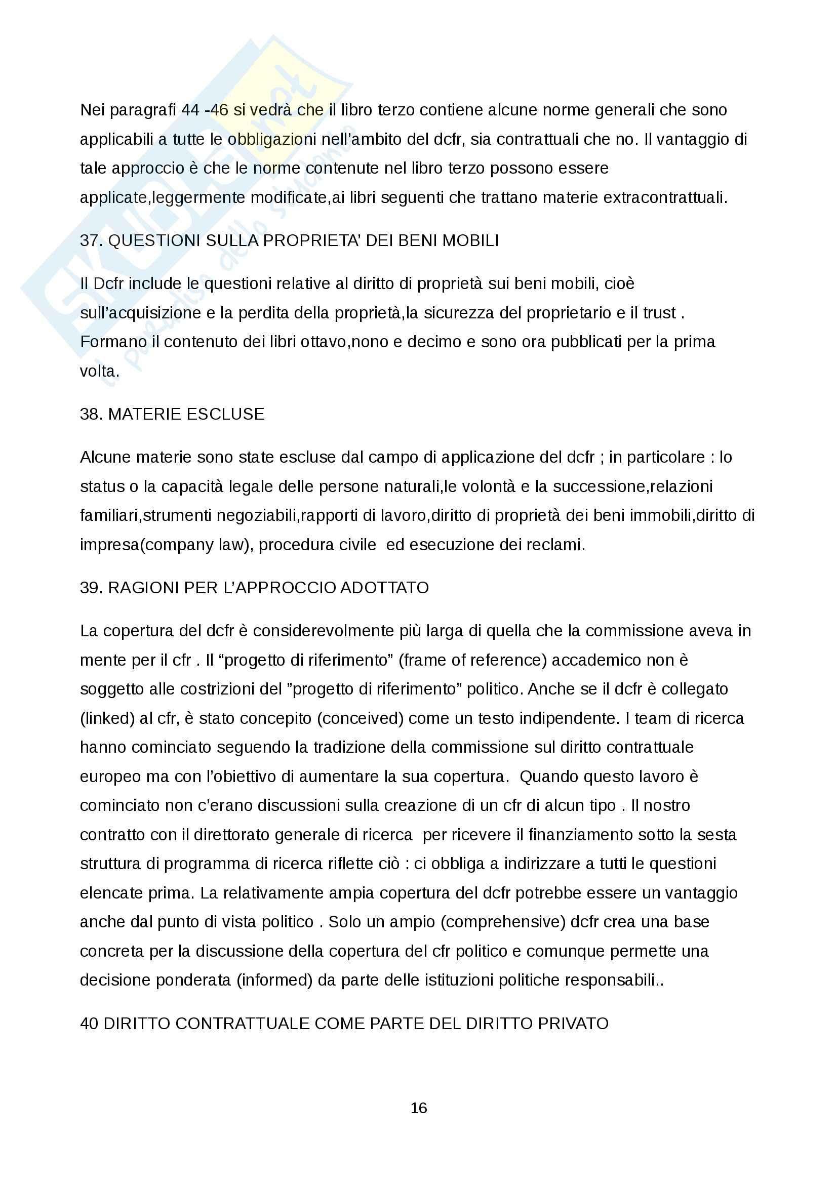 Riassunto esame European private law, prof. Martuccelli, libro consigliato Traduzione dell'introduzione al Draft Common Frame of Reference Pag. 16