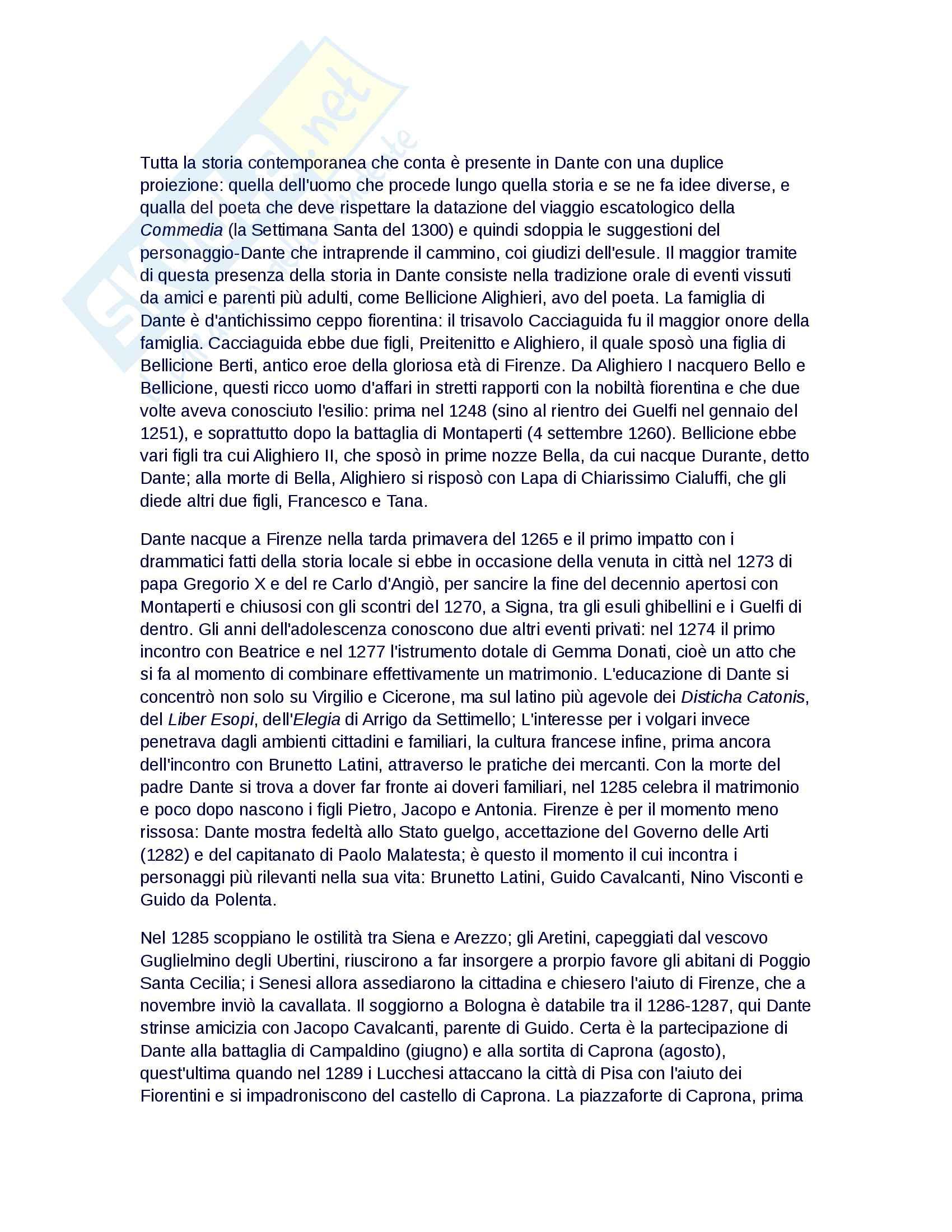 Riassunto esame Filologia e critica dantesca, prof. Fiorilla, libro consigliato Vita di Dante, Petrocchi