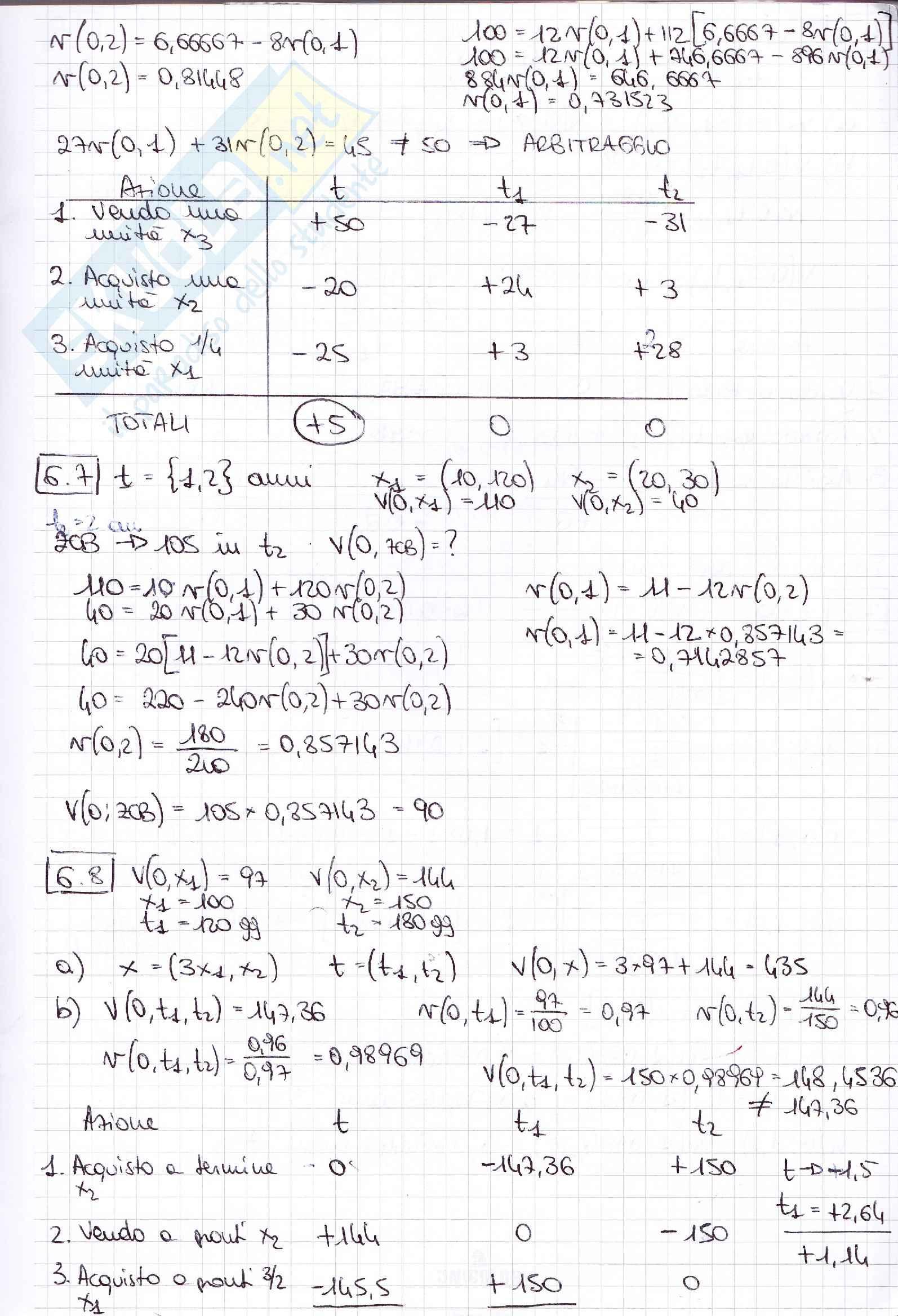 Esercizi matematica finanziaria Pag. 6