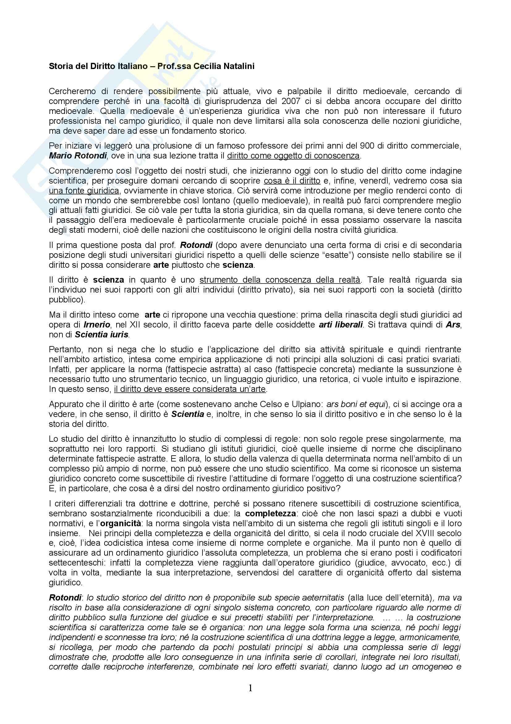 Storia del diritto italiano - lezioni