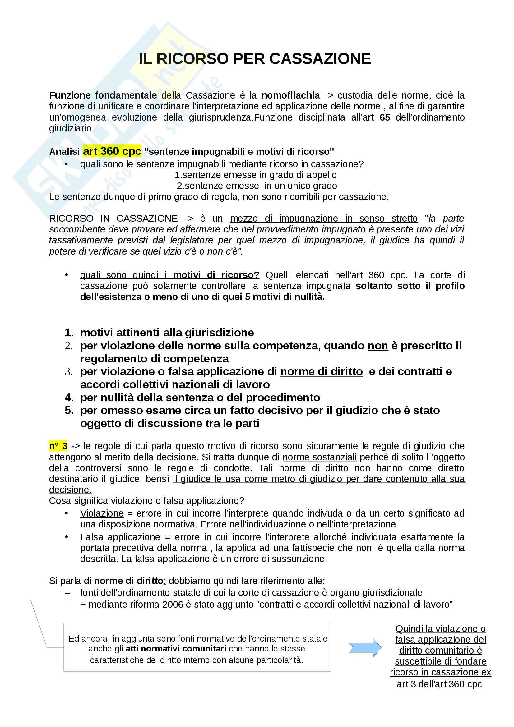 Diritto processuale civile: il ricorso in cassazione