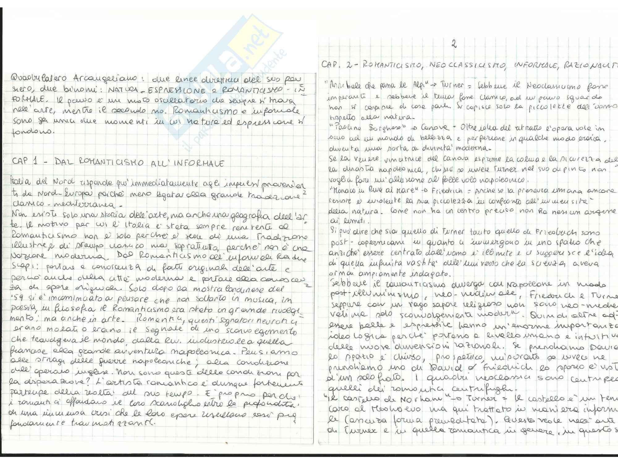 Riassunto esame Storia dell'Arte Contemporanea, prof. Sbrilli, libro consigliato Dal Romanticismo all'Informal di Arcangeli