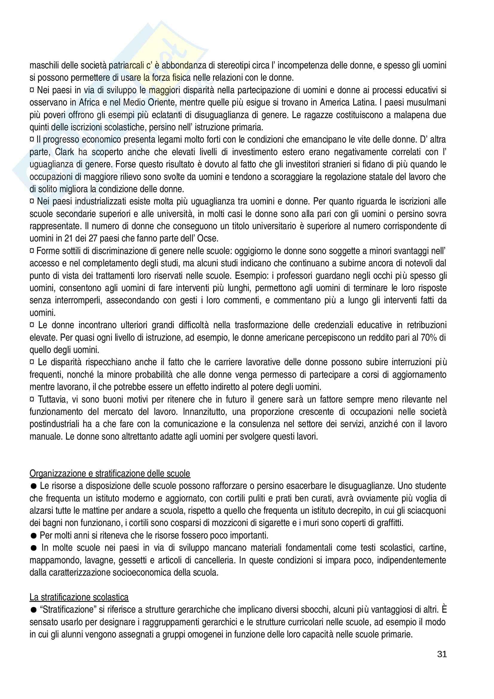 Riassunto esame Pedagogia, prof. Gaudio, libro consigliato Scuola e società, Brint Pag. 31