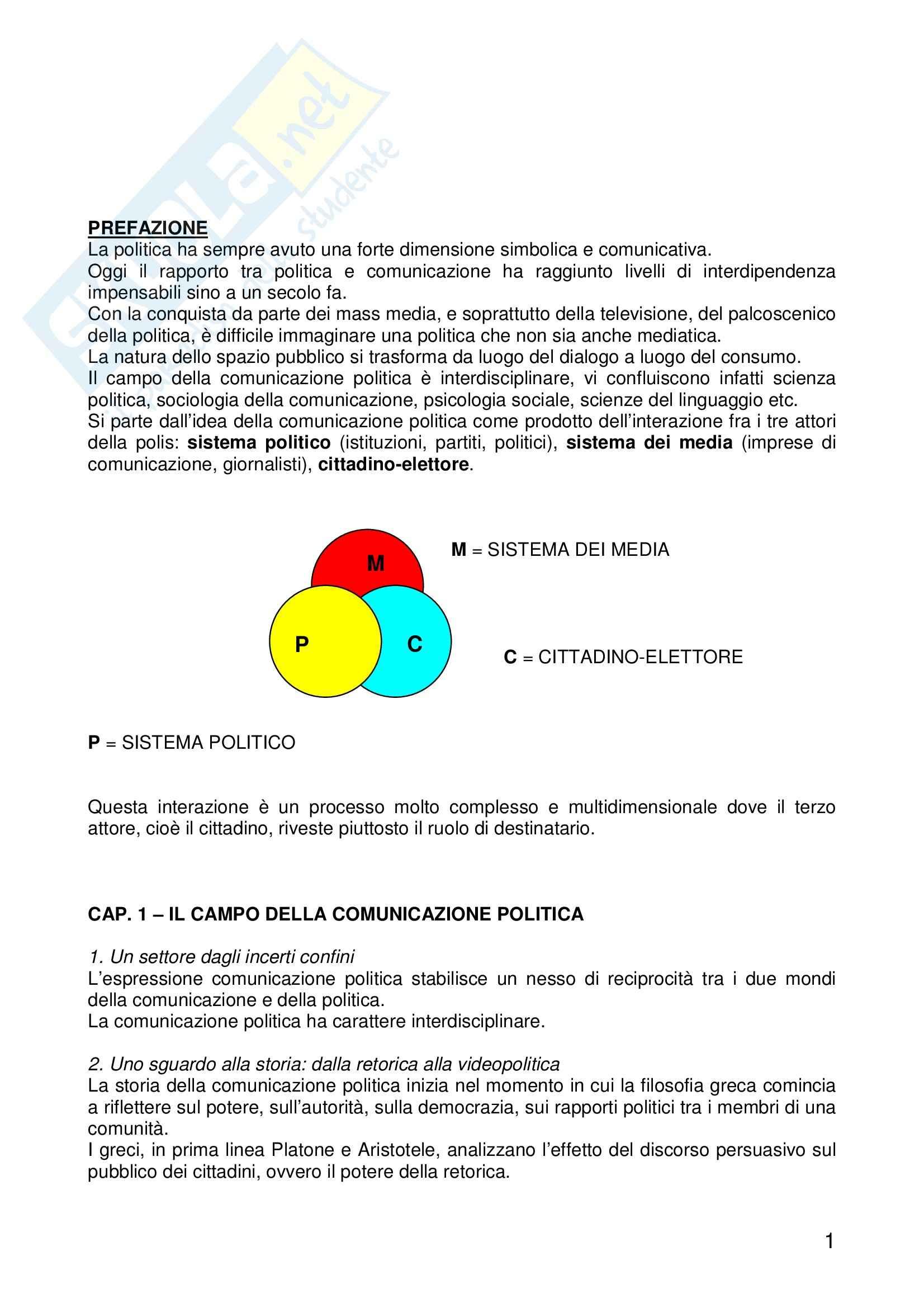 Riassunto esame Sociologia dei Fenomeni Politici, prof. Montanari, libro consigliato La Comunicazione Politica, Mazzoleni