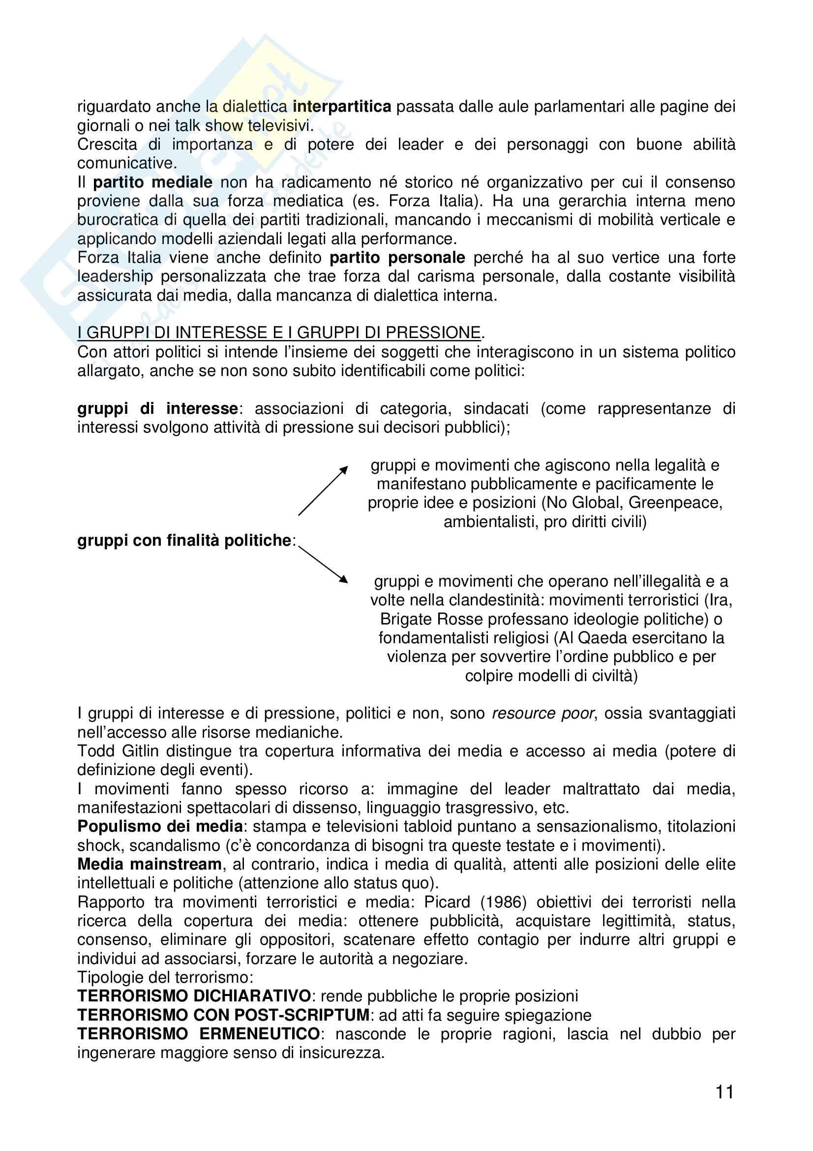Riassunto esame Sociologia dei Fenomeni Politici, prof. Montanari, libro consigliato La Comunicazione Politica, Mazzoleni Pag. 11