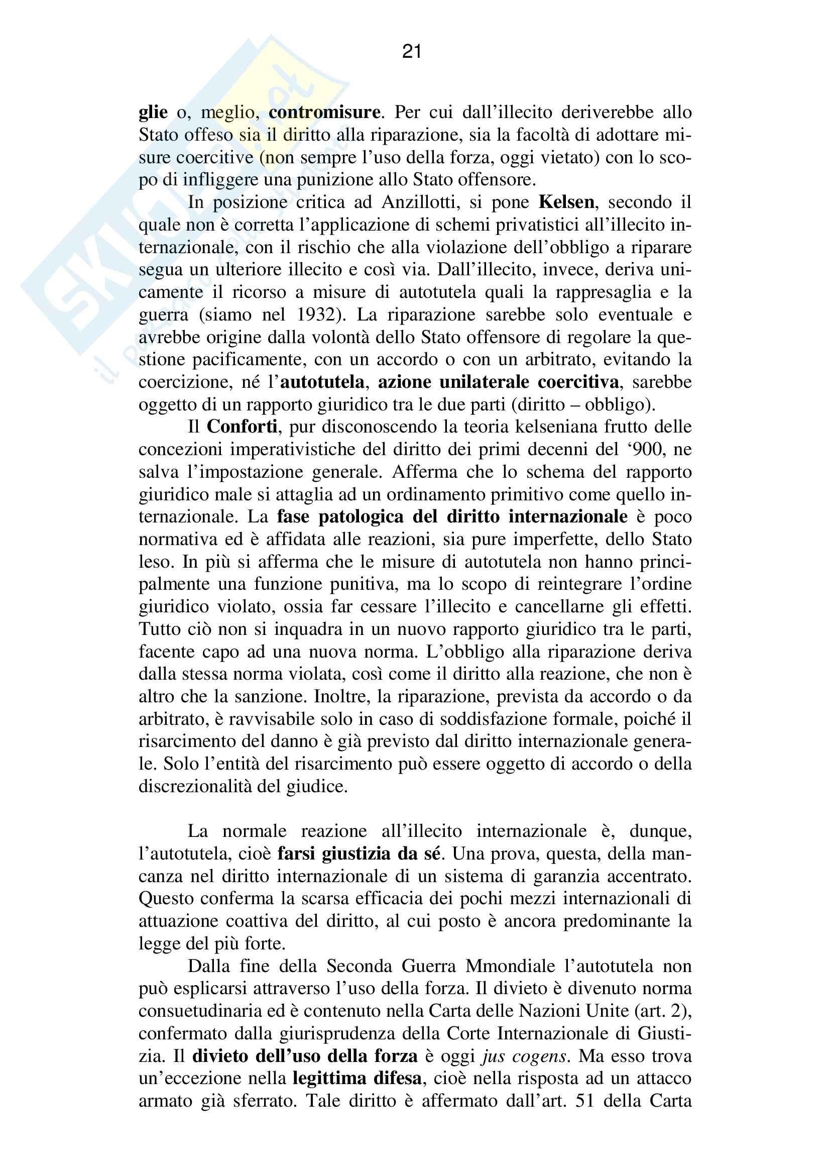 Riassunto esame Diritto Internazionale, prof. Baroncini, libro consigliato Diritto Internazionale, Conforti Pag. 21