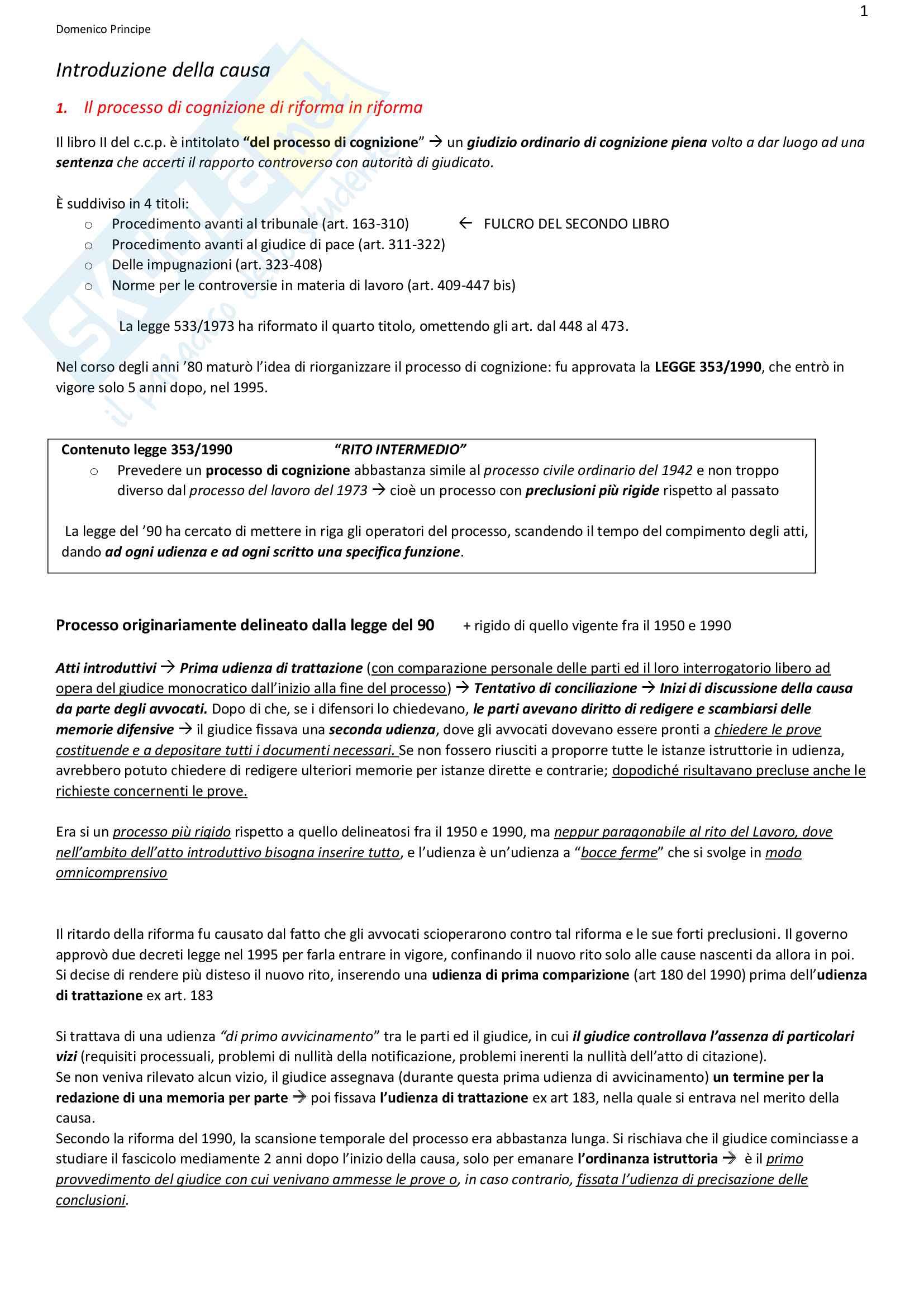 Riassunto esame Diritto Processuale Civile, prof Boccagna, libro consigliato Spiegazioni di diritto processuale civile, Consolo