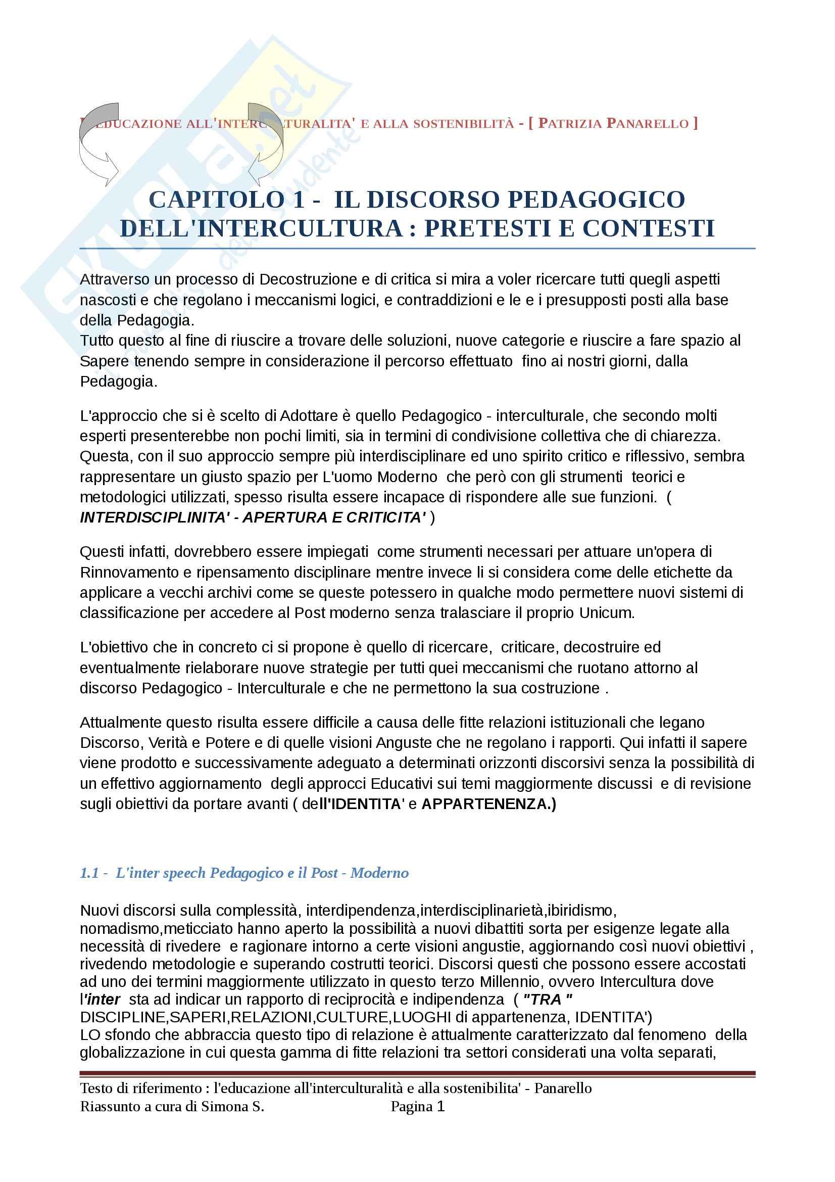 Riassunto esame Pedagogia interculturale, prof. Panarello, testo consigliato L'educazione all'interculturalità e alla sostenibilità