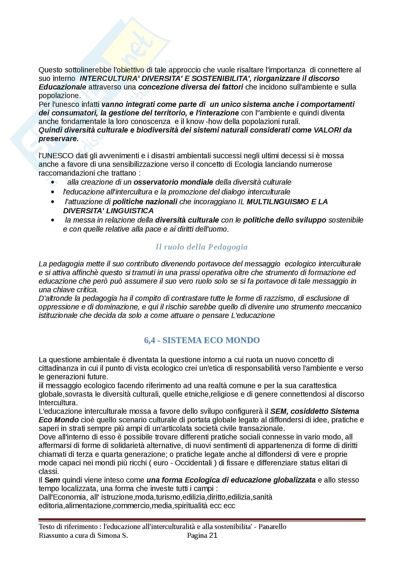 Riassunto esame Pedagogia interculturale, prof. Panarello, testo consigliato L'educazione all'interculturalità e alla sostenibilità Pag. 21