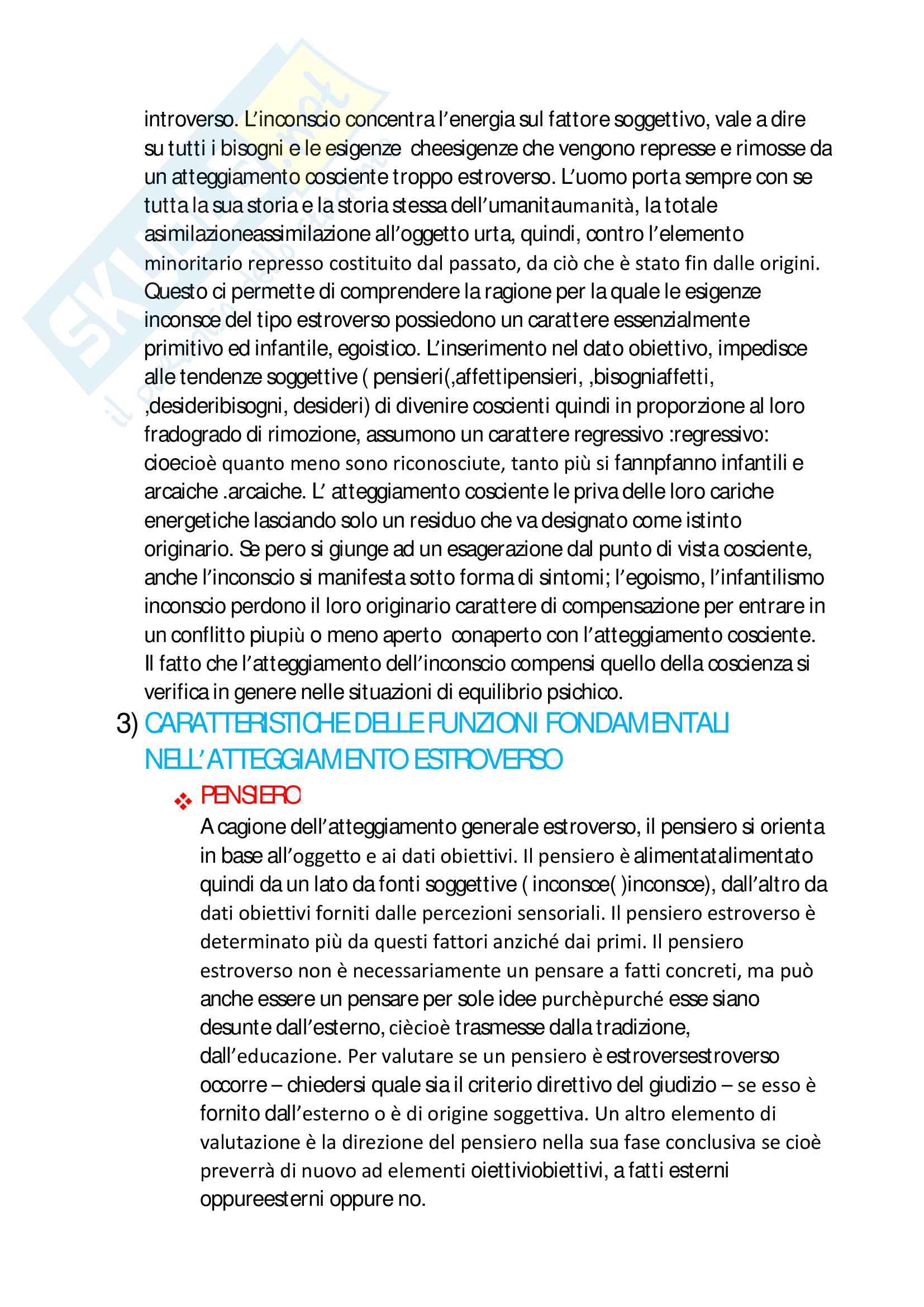 Riassunto esame psicologia clinica, prof. Settineri, libro consigliato Tipi Psicologici di Jung Pag. 2