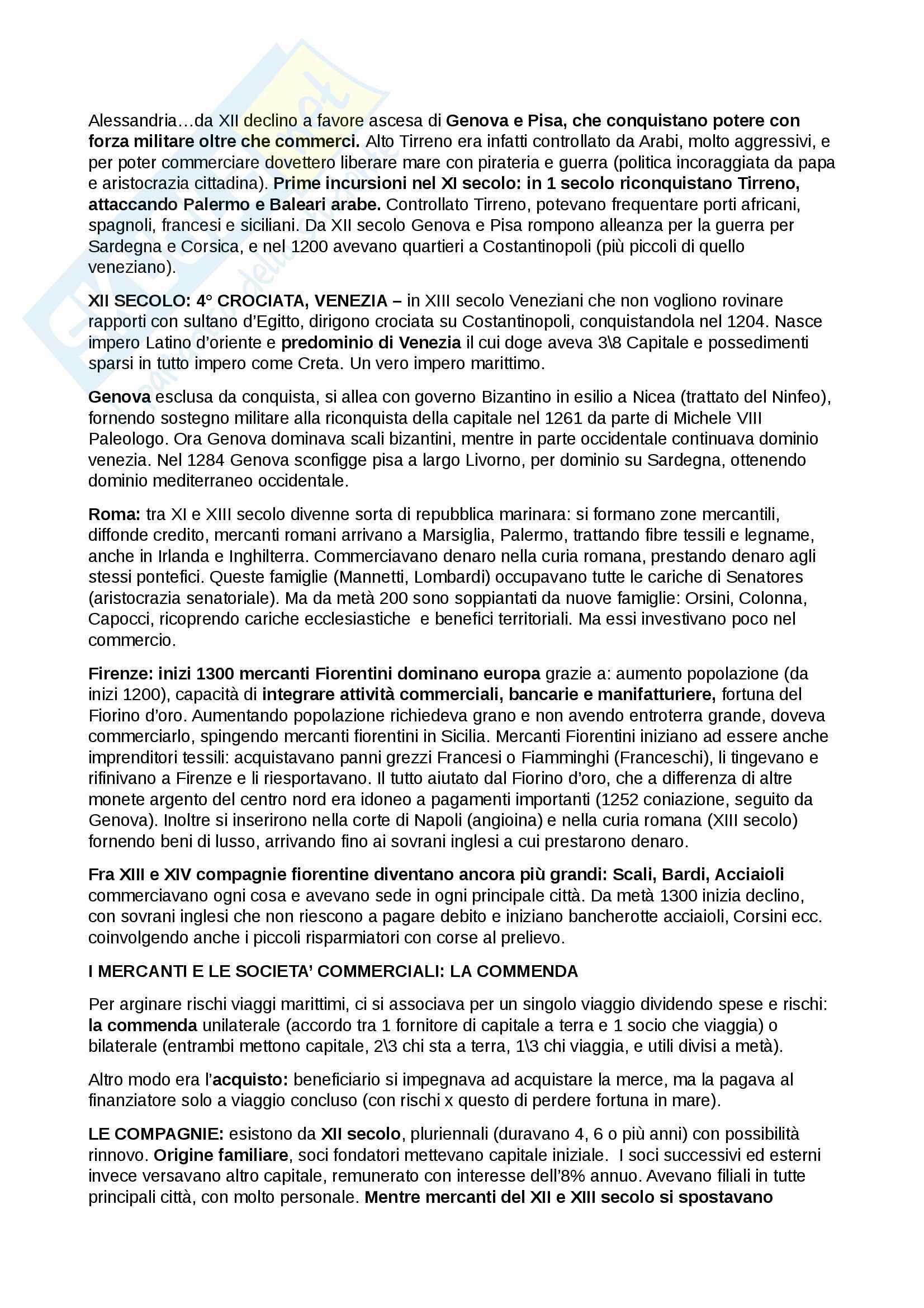 Riassunto esame Storia della città e del territorio nel Medioevo, prof. Raffaele Savigni, libro consigliato Le città italiane nel Medioevo: XII-XIV secolo, F. Franceschi, I. Taddei Pag. 2