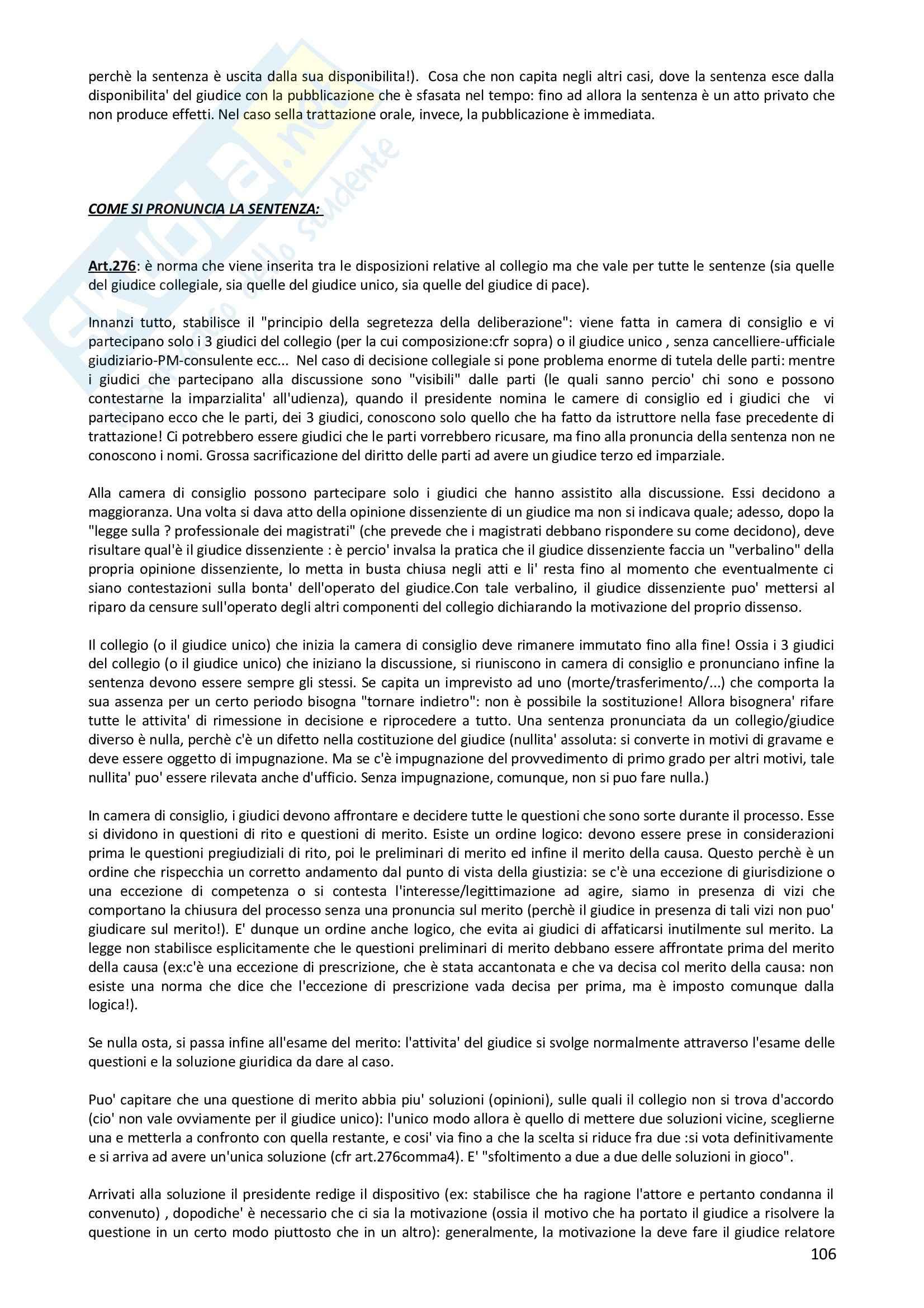 Diritto Processuale civile - Appunti Pag. 106
