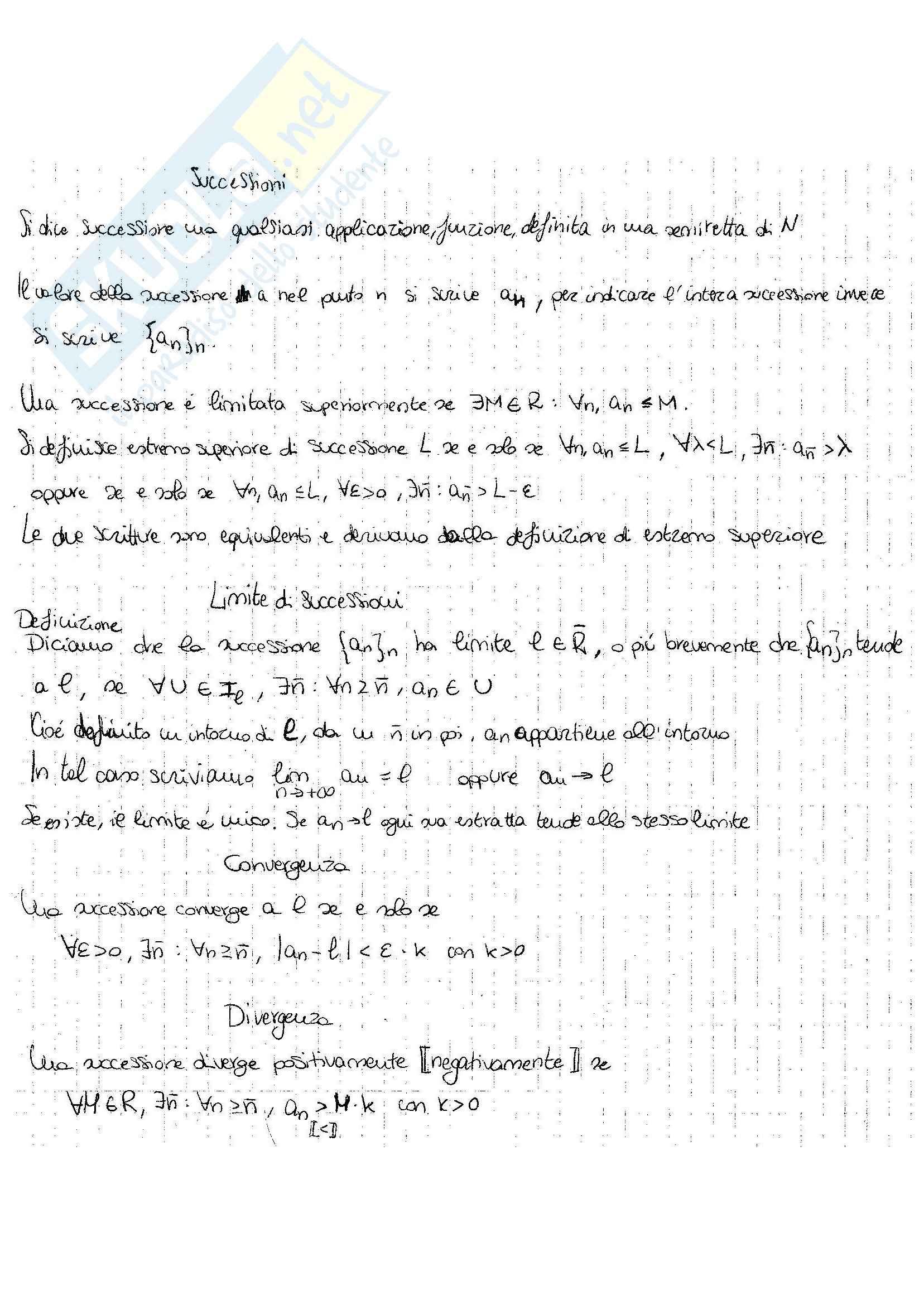 Successioni e continuità, Analisi matematica I