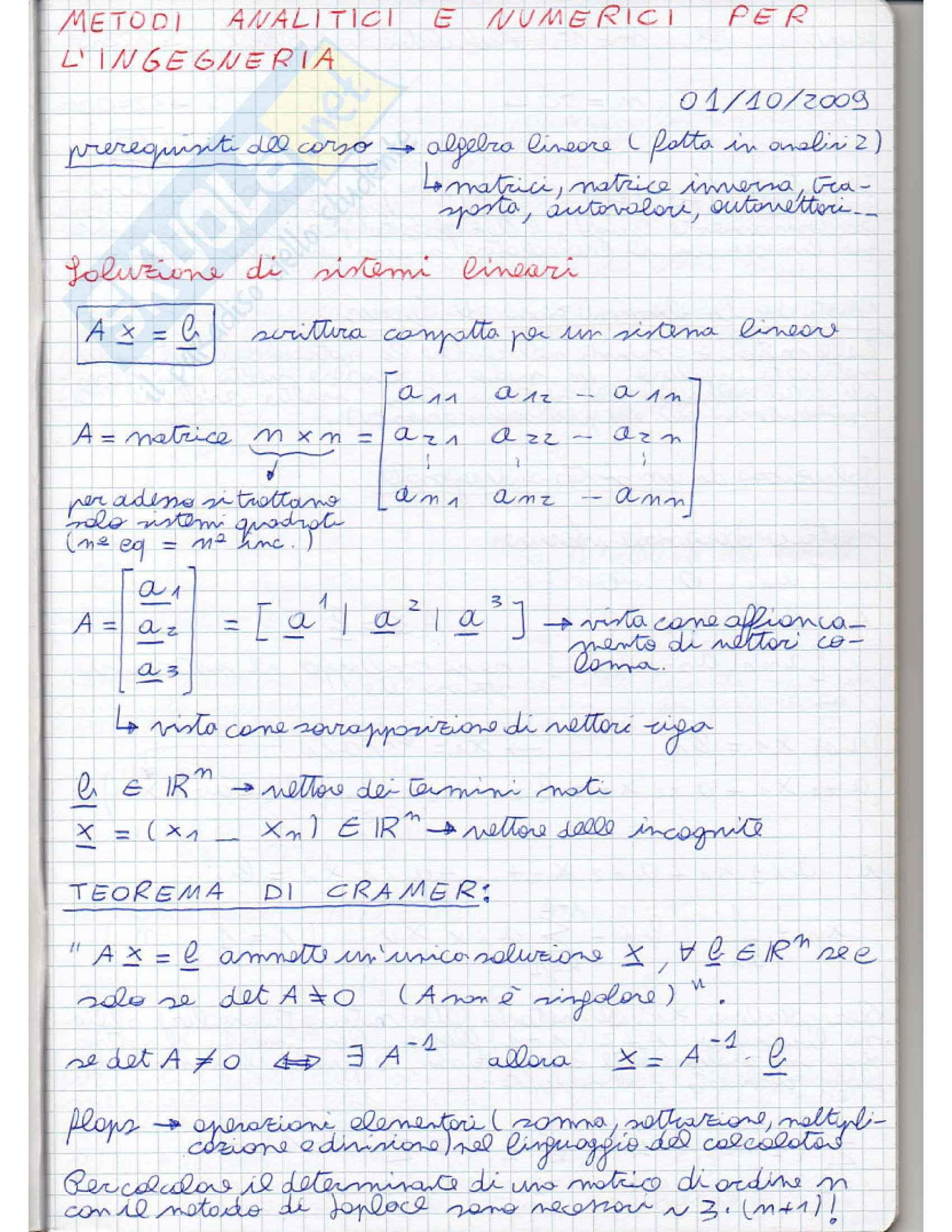 Metodi analitici e numerici per l'ingegneria - Appunti