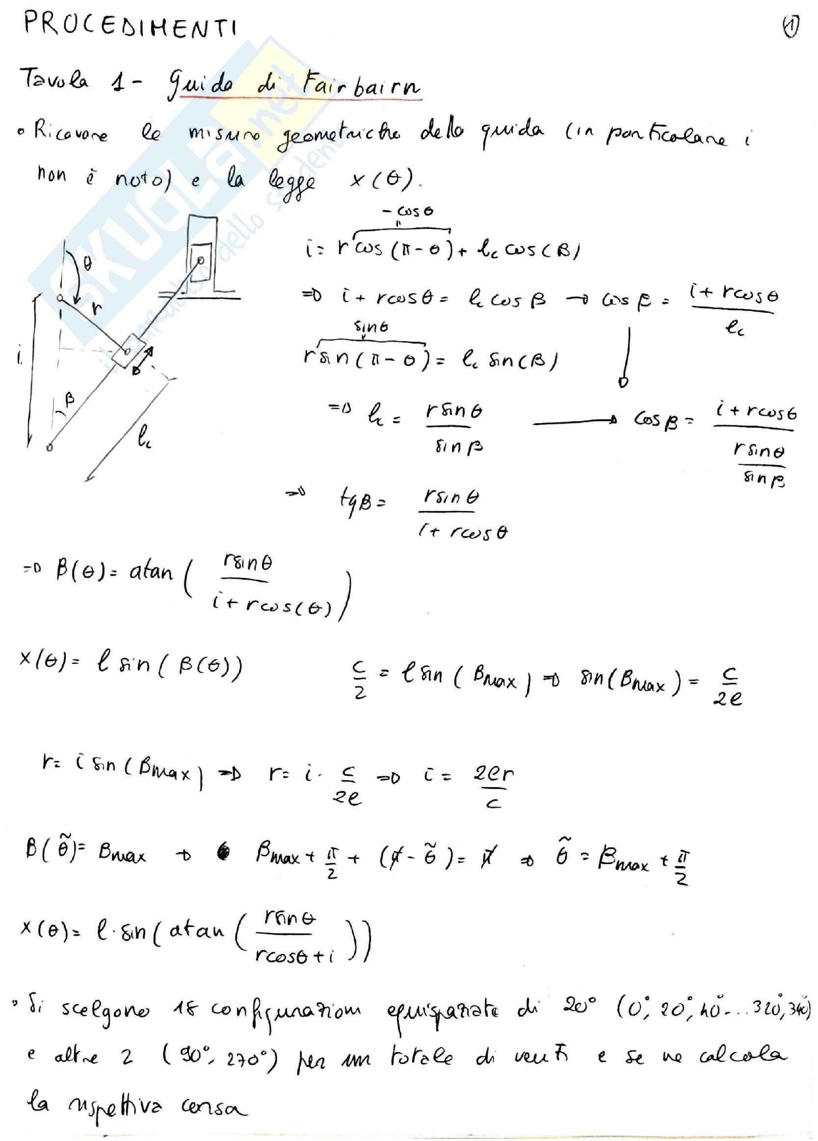 Procedimenti schematici per le tavole di Laboratorio di Meccanica Applicata alle Macchine