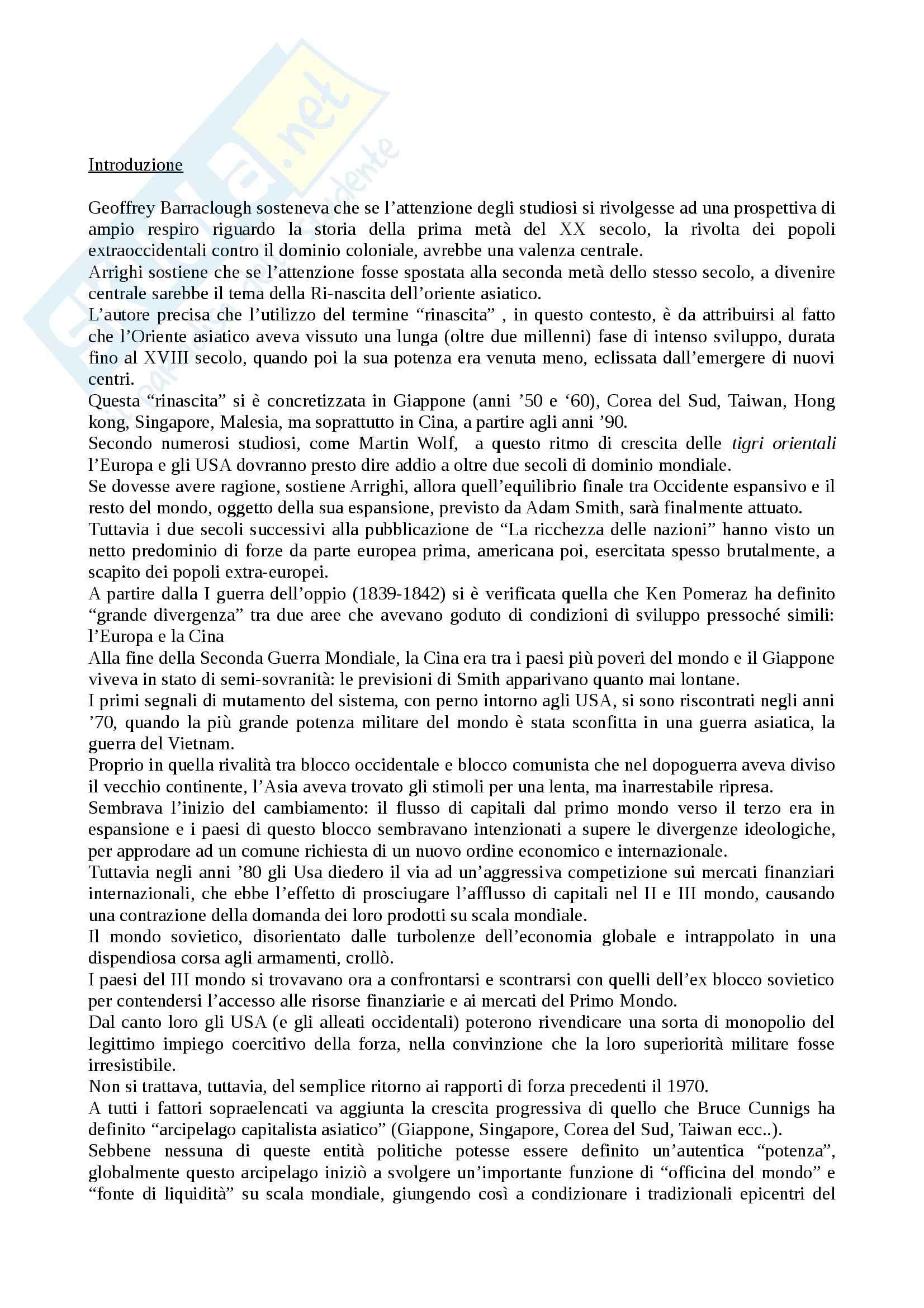 Riassunto esame Storia Contemporanea, prof. Mantelli, libro consigliato Adam Smith a Pechino, Arrighi