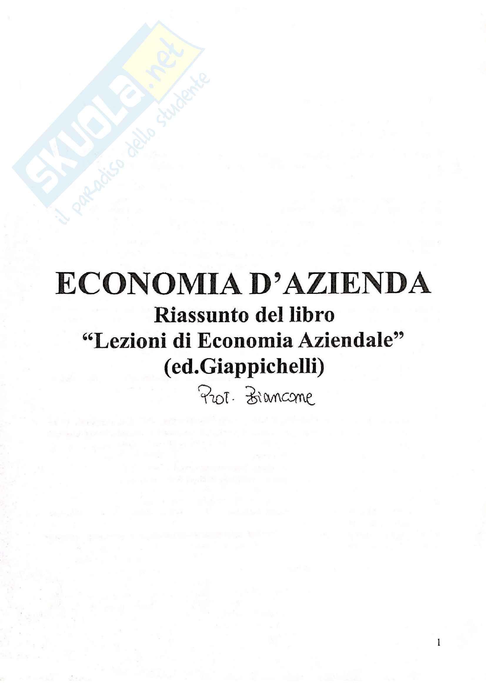 Appunti di economia aziendale, prof. Biancone
