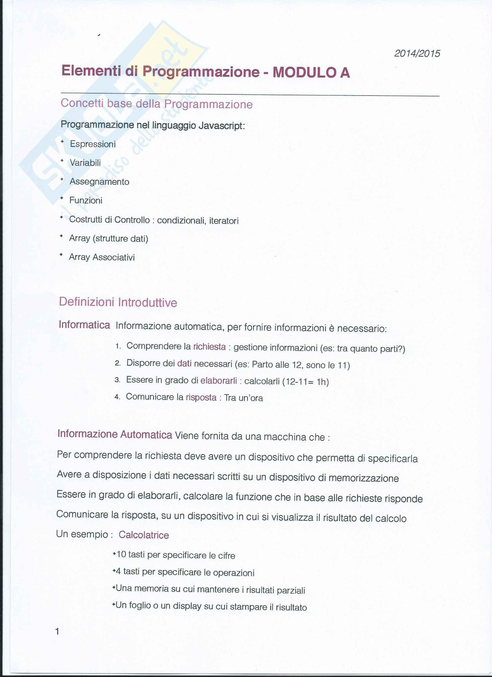Fondamenti Teorici e Programmazione - Modulo A
