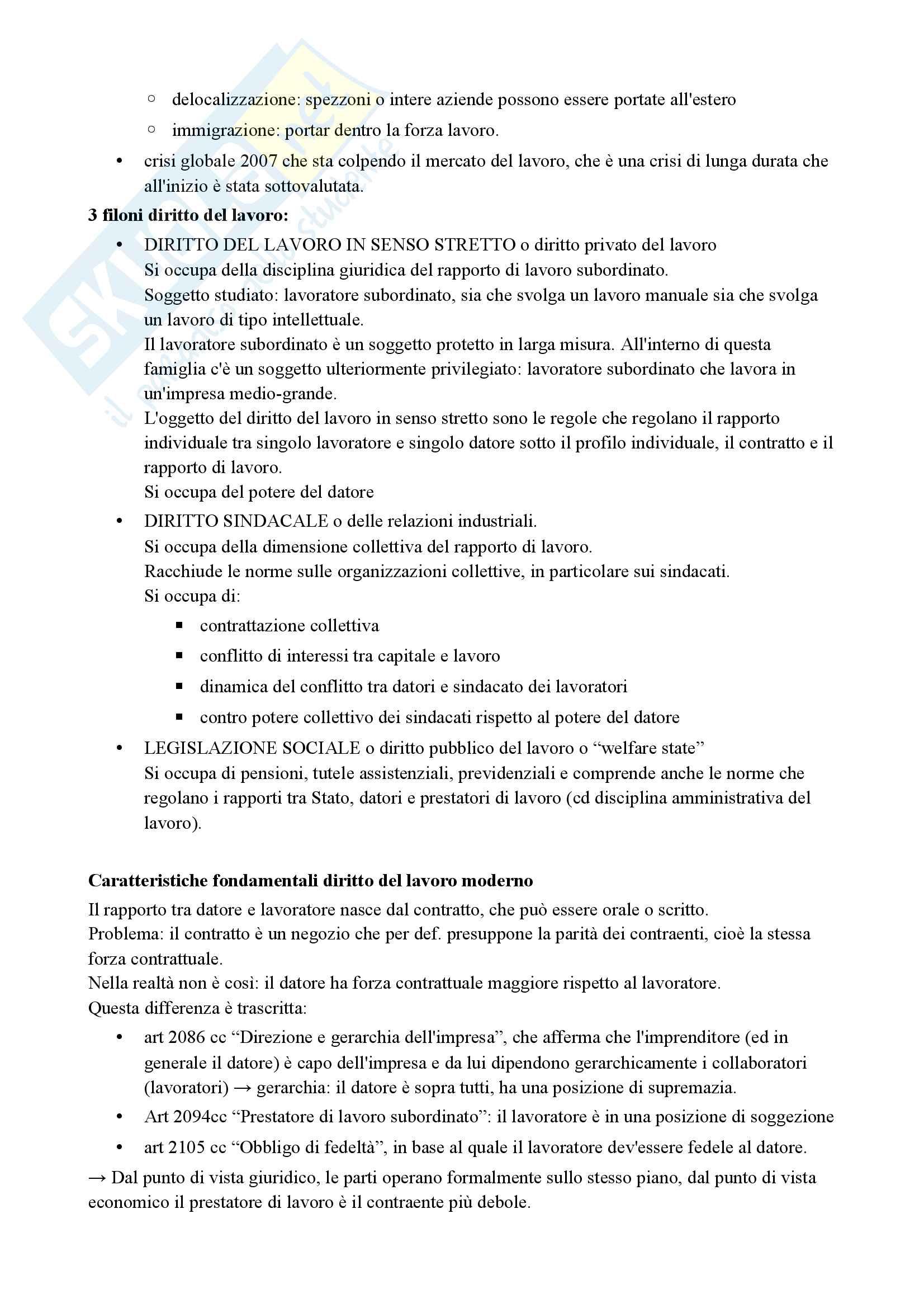Diritto del lavoro (economia) Pag. 2