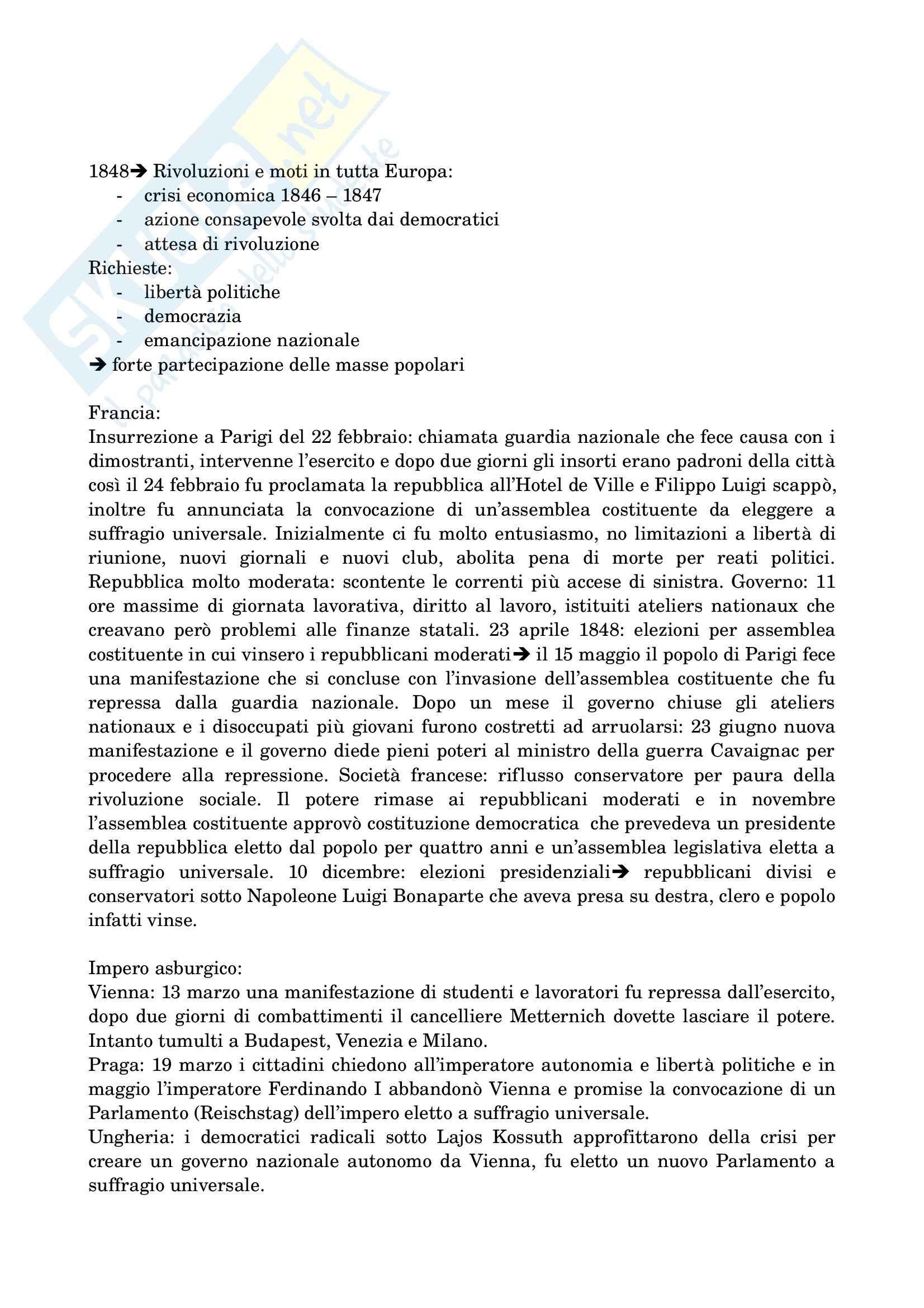Riassunto esame Storia contemporanea, prof. Del Zanna, libro consigliato Storia contemporanea, Sabbattucci, Vidotto