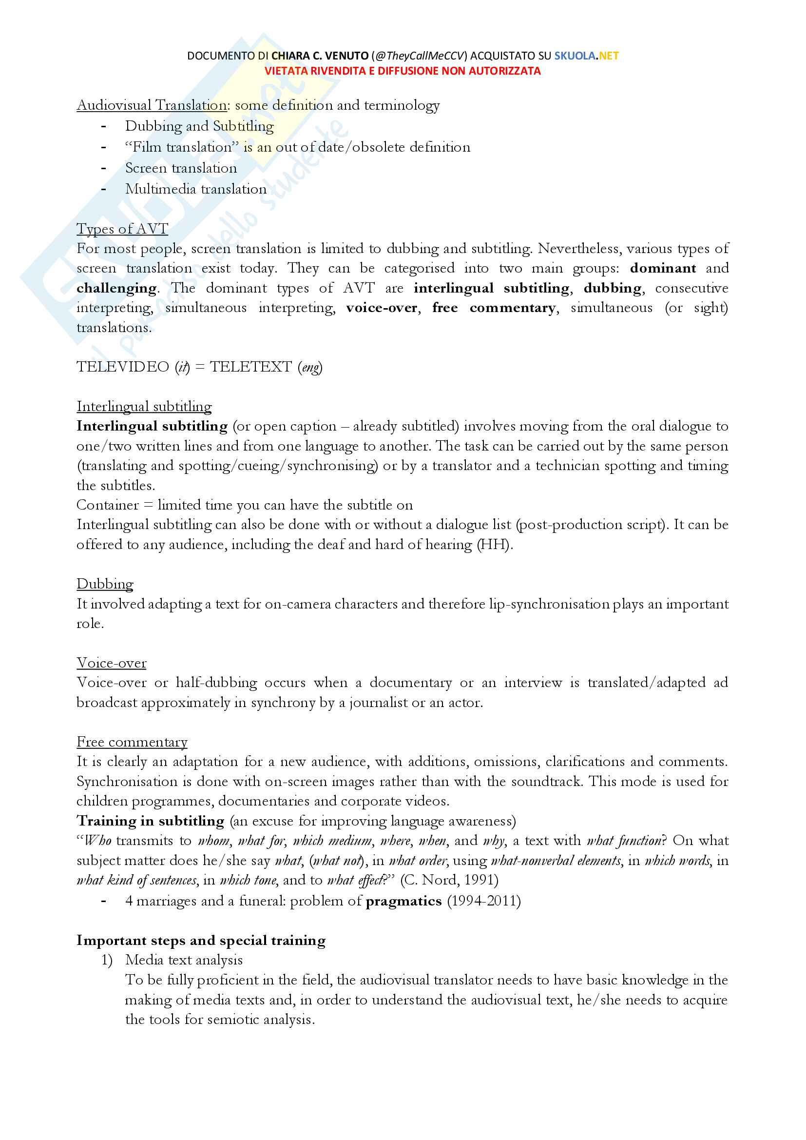 Modulo AVT, Lingua e Traduzione Inglese 2