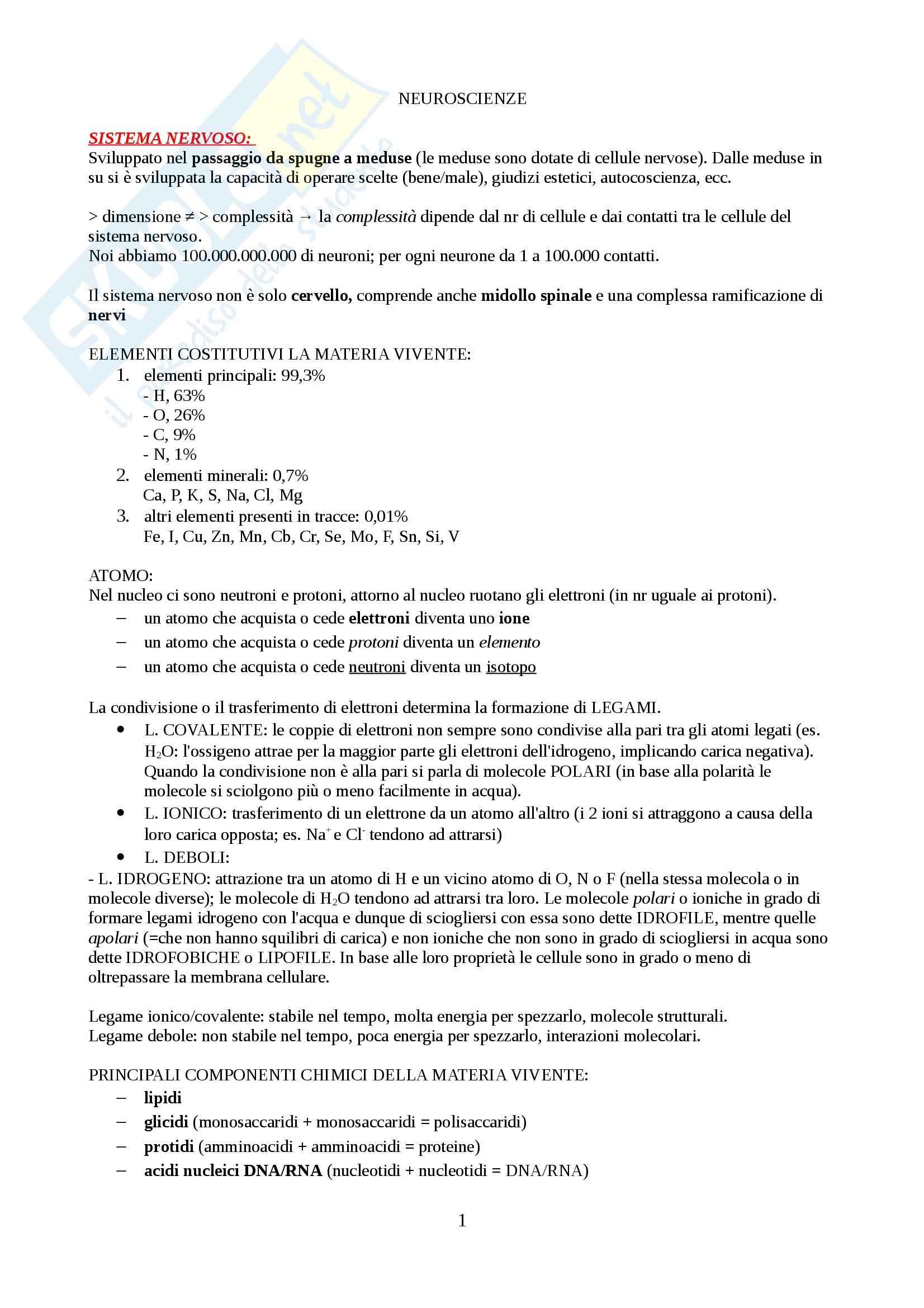Neuroscienze - Appunti