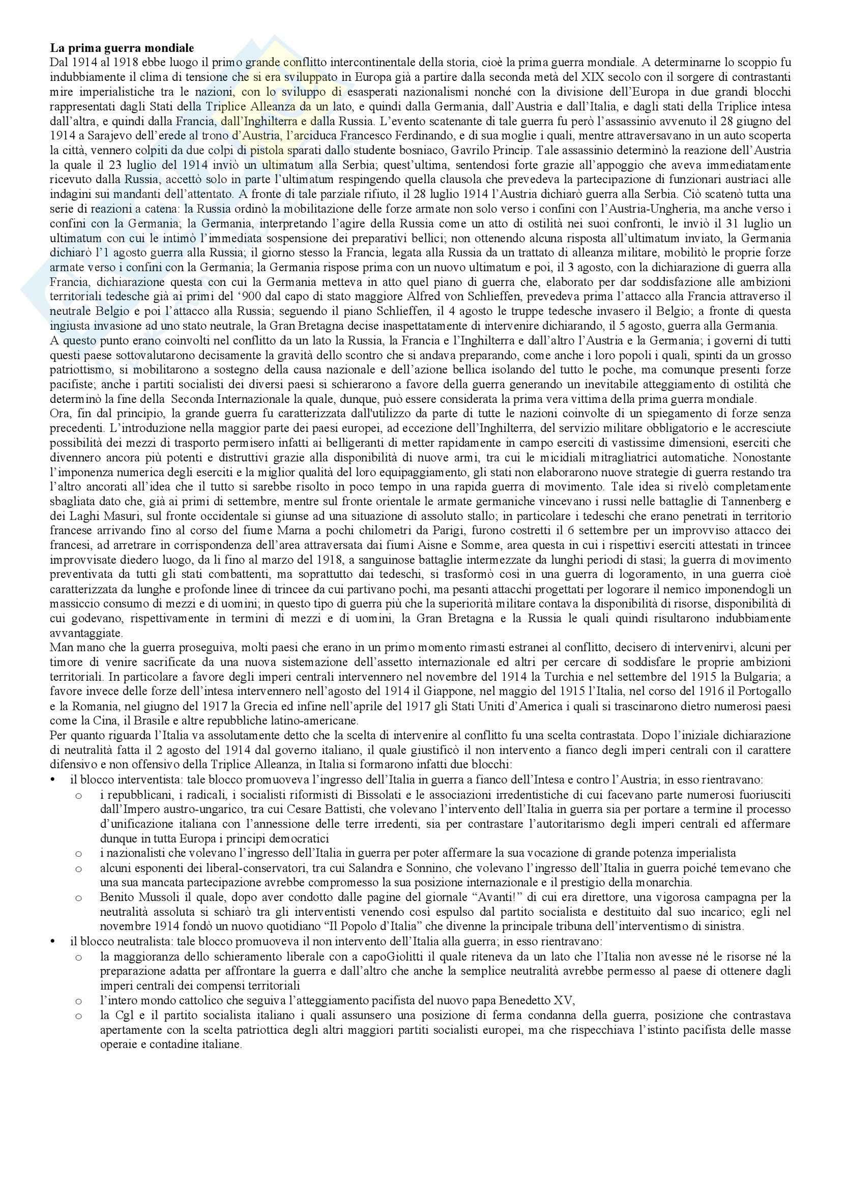 Riassunto esame Storia Contemporanea, prof. Berardi, libro consigliato Storia Contemporanea: il 900, Sabbatucci, Vidotto