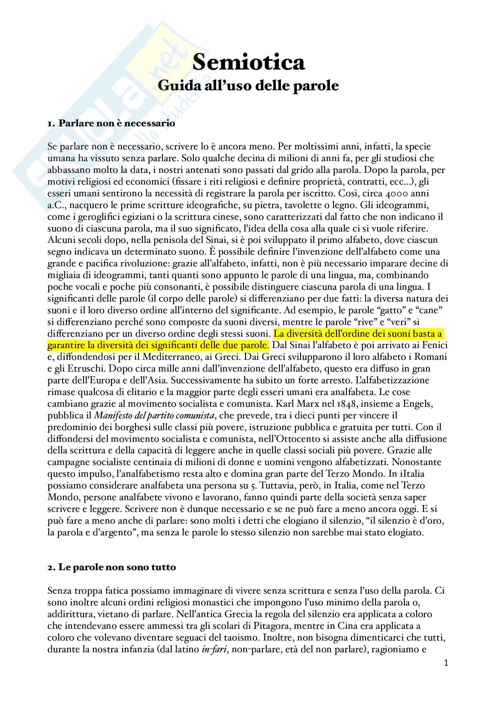 Appunti Guida all'uso delle parole, Semiotica