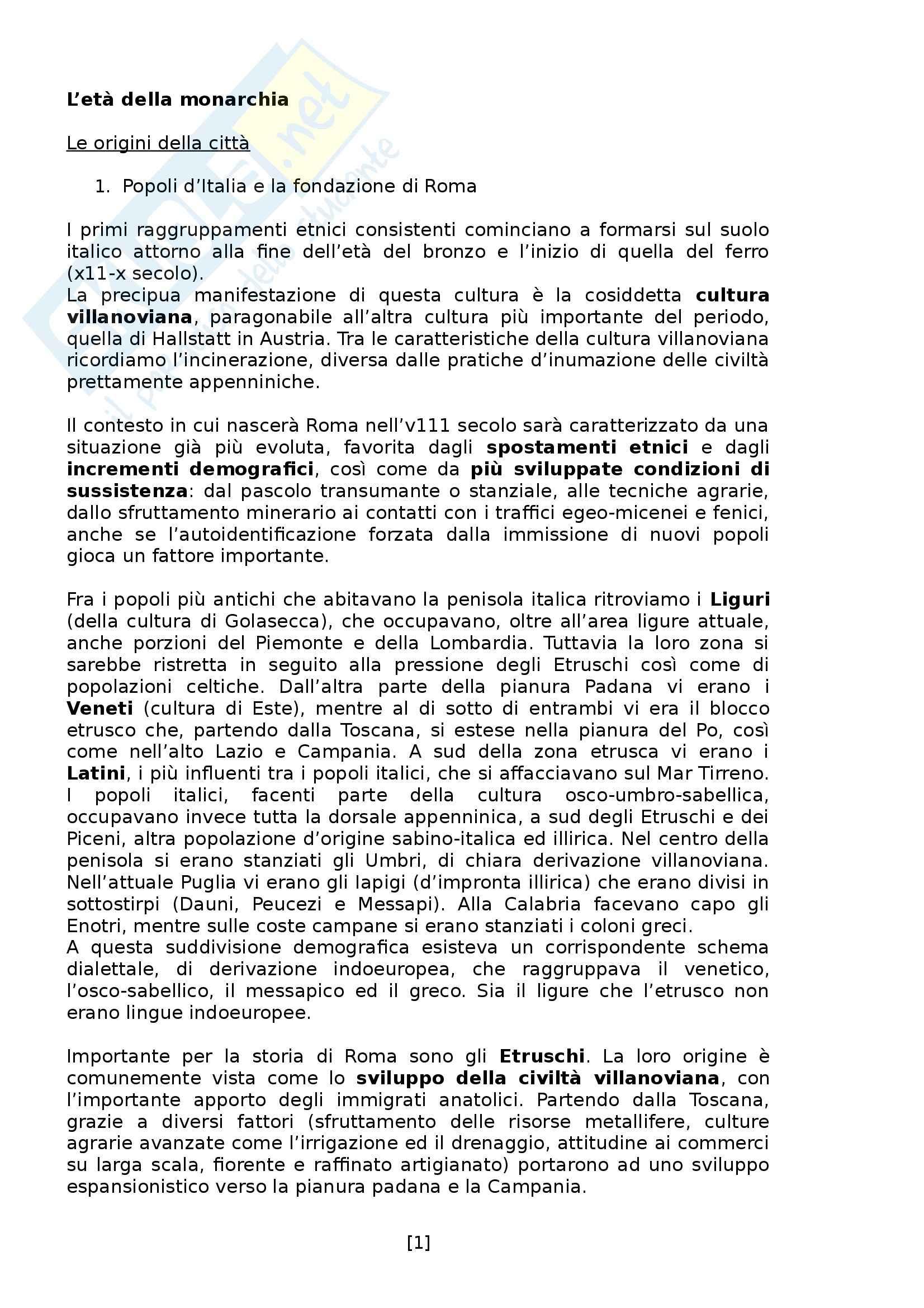 Riassunto esame e appunti, prof. Giorcelli, libro consigliato Storia Romana. Dalle origini alla tarda antichità, di Pani, Todisco
