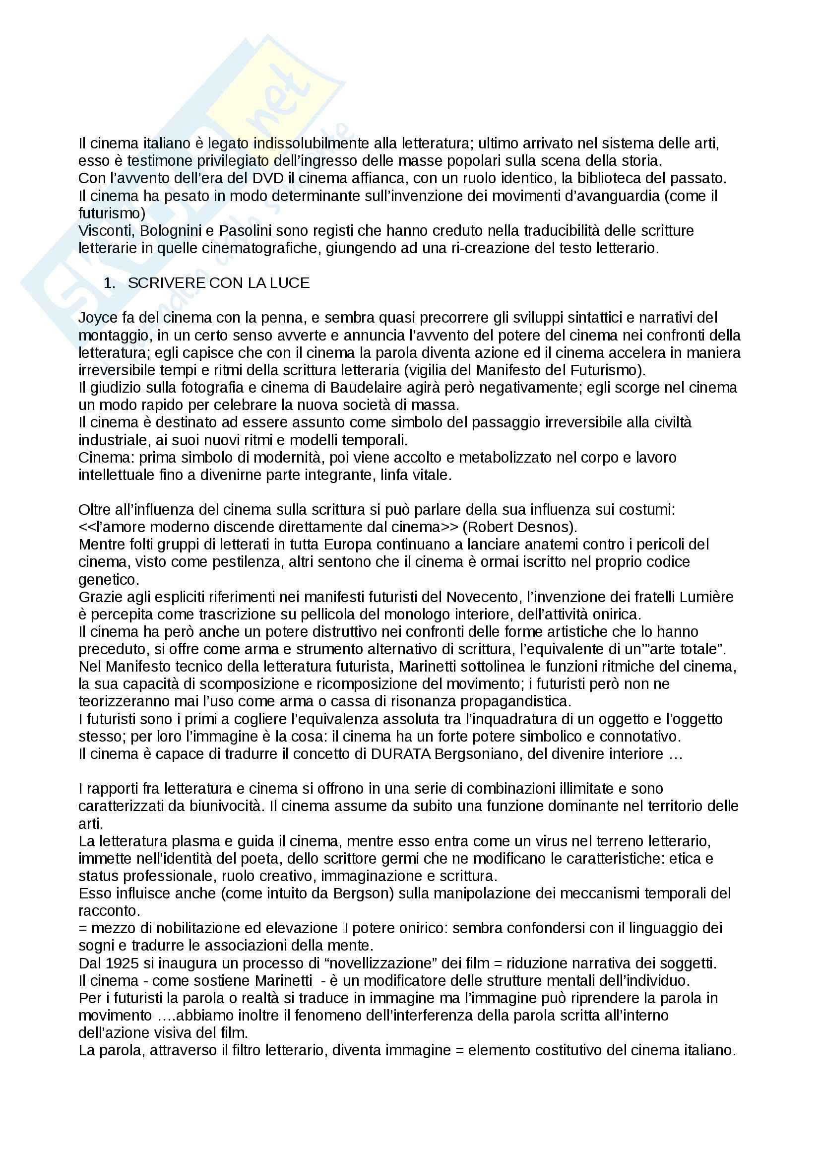Riassunto esame Cultura italiana, prof. Martelli, libro consigliato Gli Intellettuali Italiani e il Cinema, Brunetta